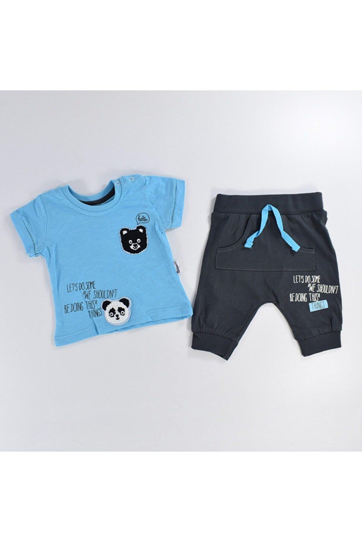 Miniworld Erkek Bebek Panda Nakışlı Şalvarlı Takım 6-24 Ay