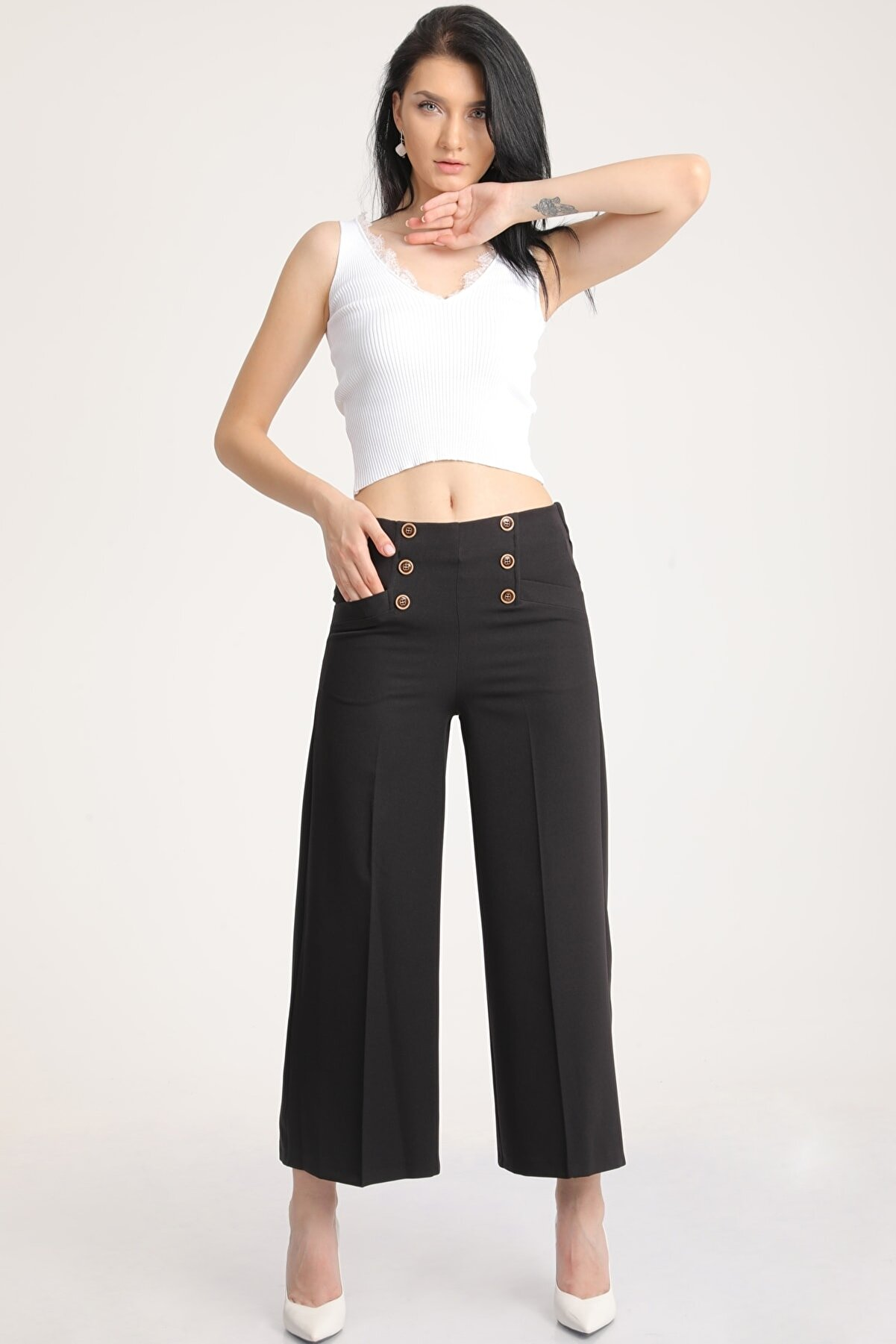 MD trend Kadın Siyah Geniş Paça Kapri Pantolon Mdt5729