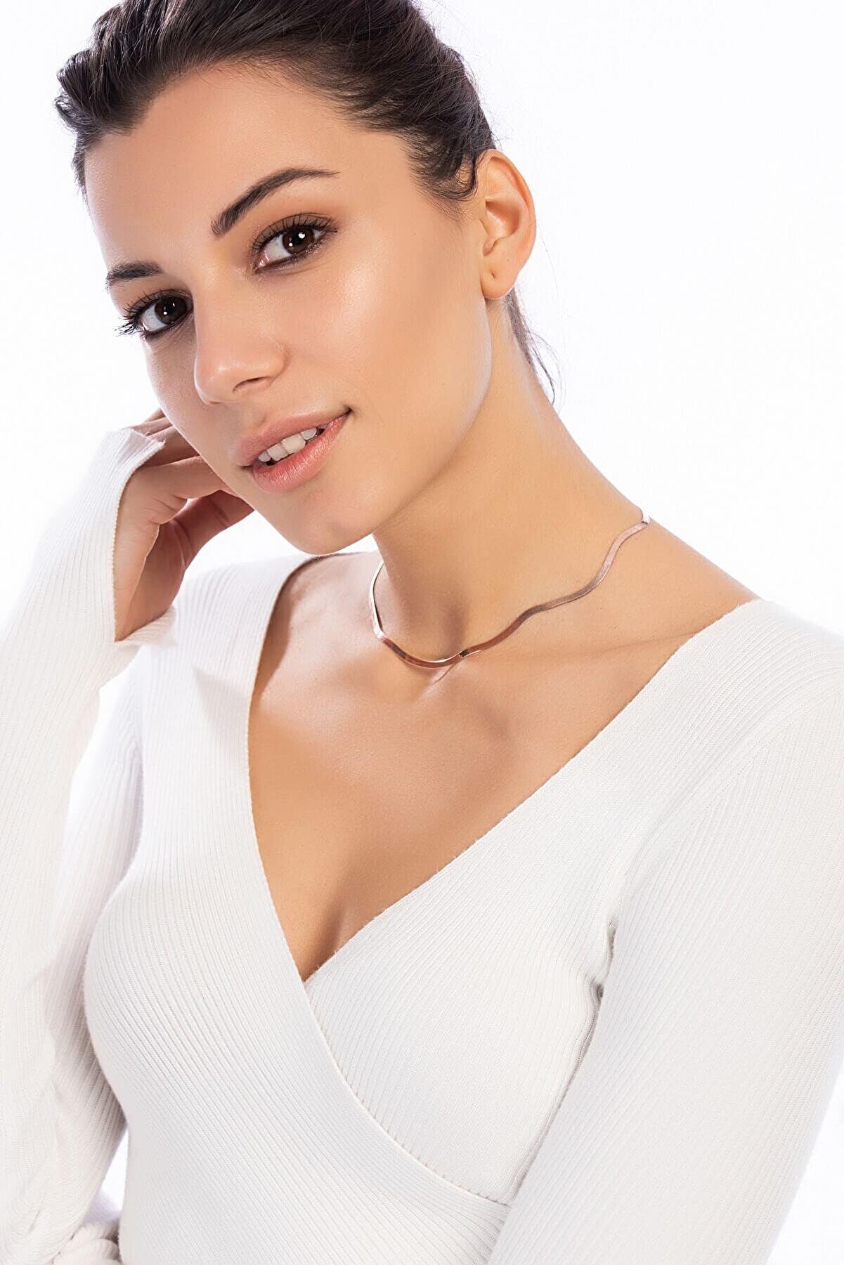 Söğütlü Silver Yassı Rose Zincir 45 Cm