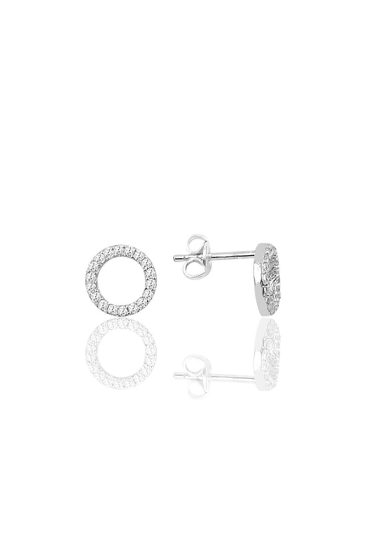 Söğütlü Silver Gümüş Zirkon Taşlı Halka Modeli Küpe