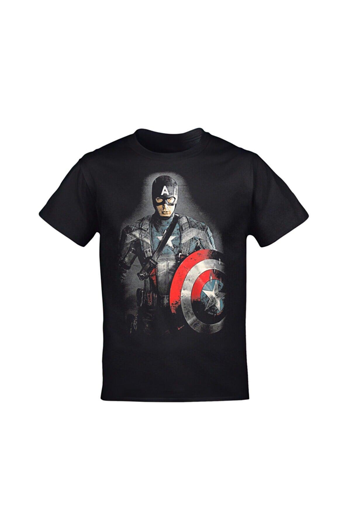 Orijin Tekstil Unisex Siyah Kaptan Amerika Tshirt