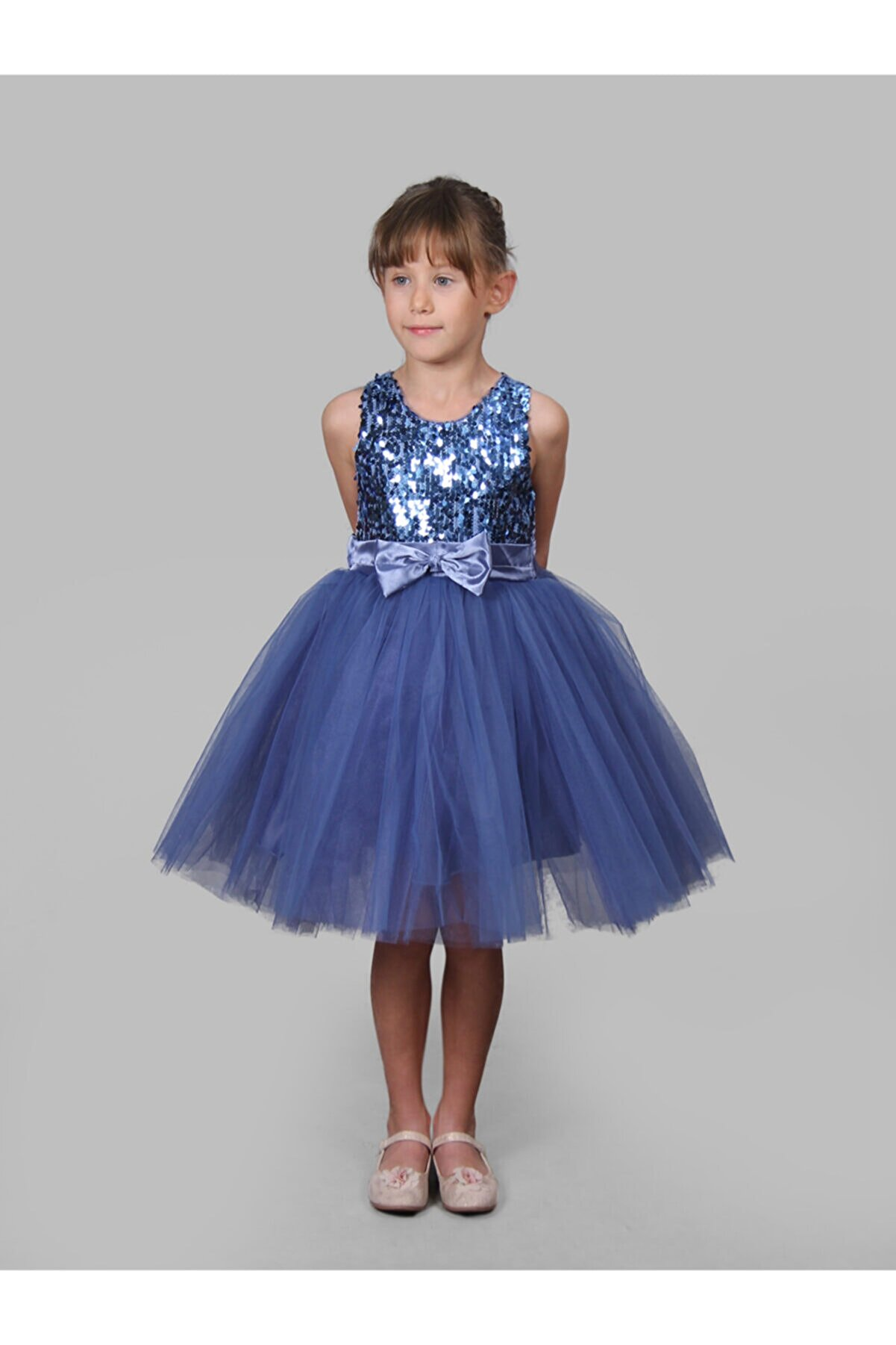 BUTİKHAPPYKİDS Kız Çocuk Prenses Model Indigo Payetli Abiye