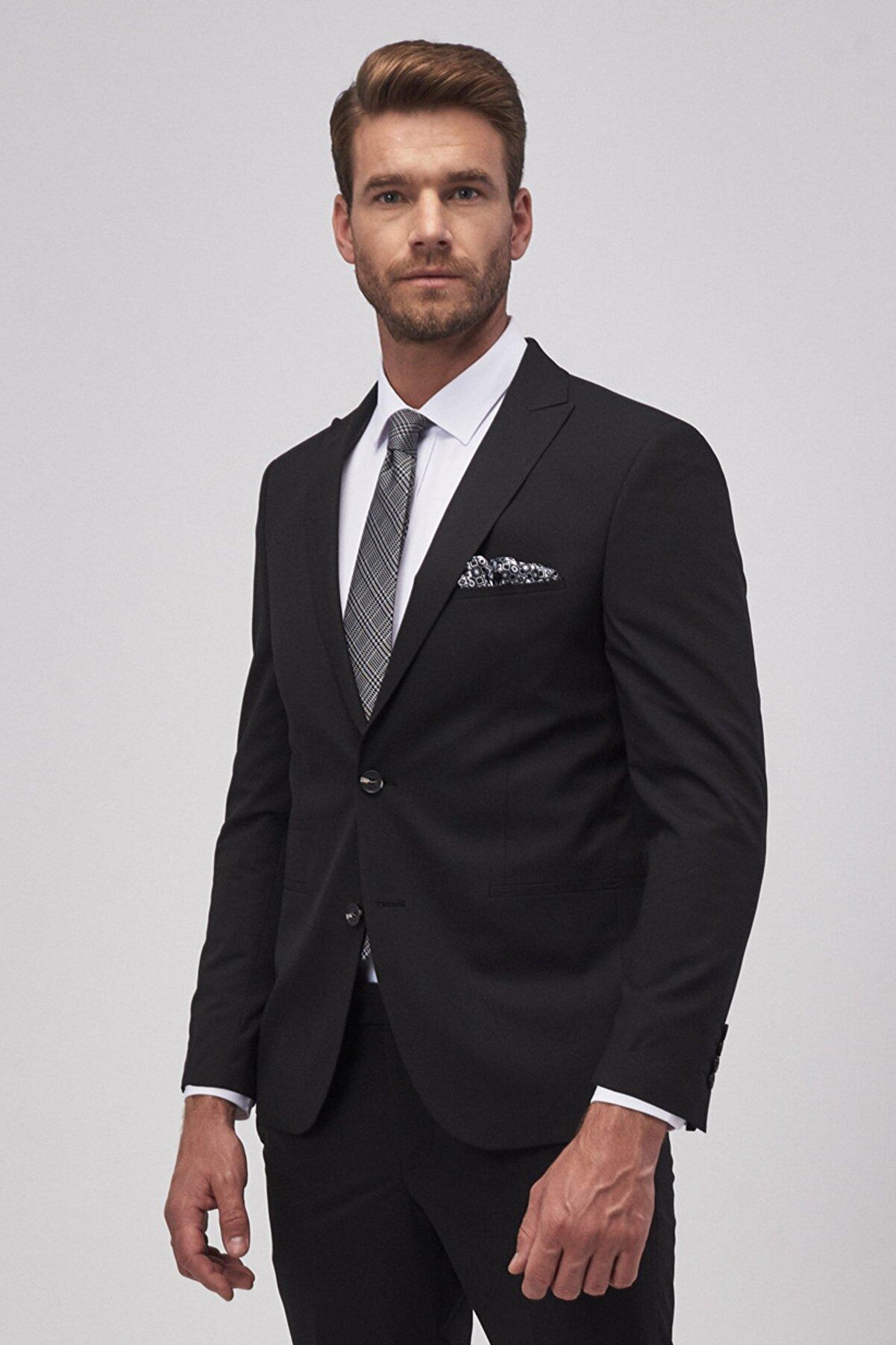 Altınyıldız Classics Erkek Siyah Ekstra Slim Fit Siyah Spor Takım Elbise