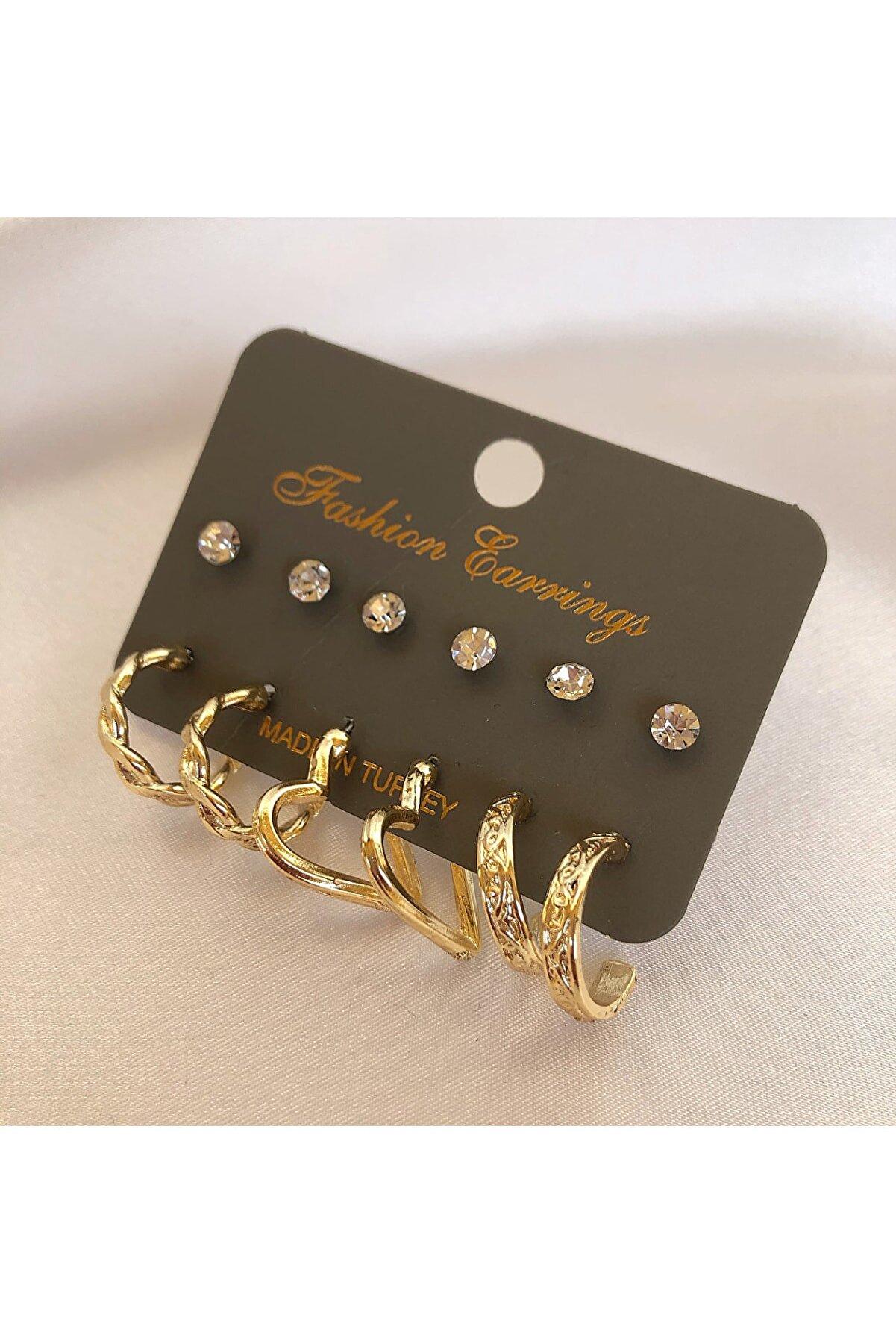 takıtarzım 6 Çift Set Küpe Gold