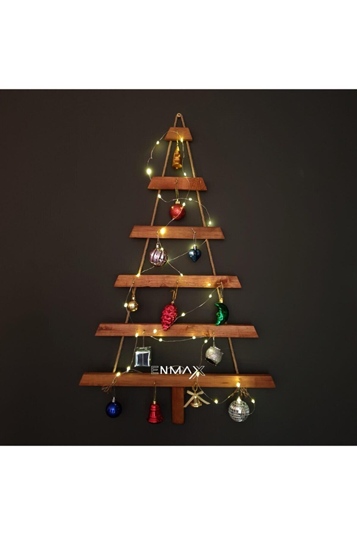 Enmax Yılbaşı Lüks Ahşap Çam Ağacı Halatlı Yeniyıl Ağacı K782