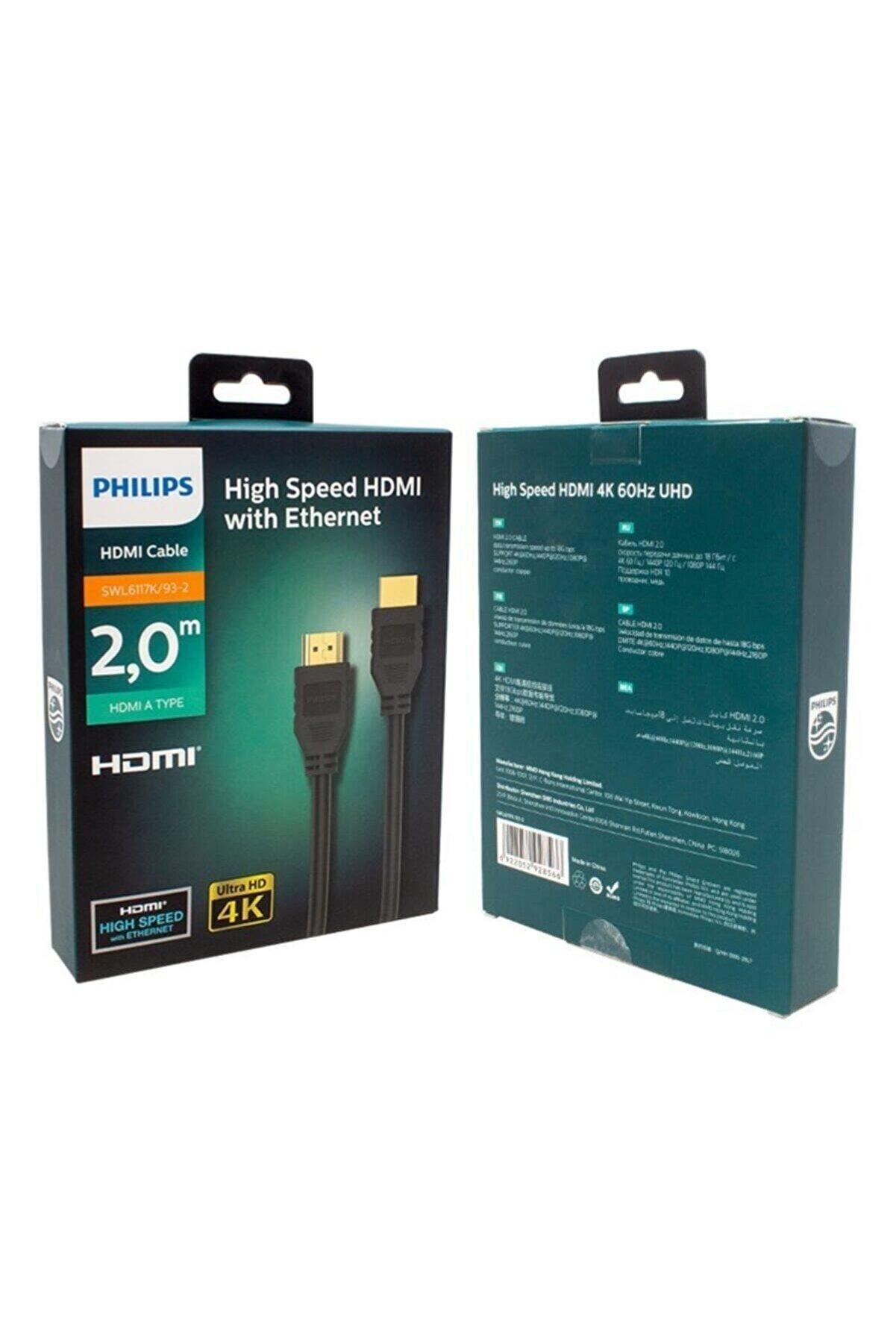Philips 2 Metre Hdmı Kablo Altın Uçlu 4k Ultra High Speed With Ethernet Hd Kablo Swl6117k/93-2
