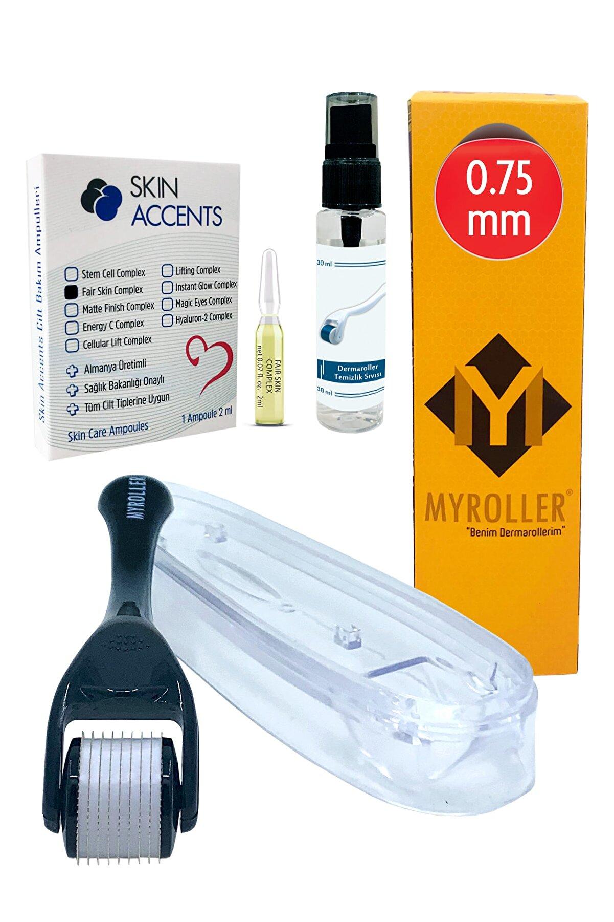 Myroller Dermaroller 0.75 mm + Leke Giderici Ampul + Dezenfektan Seti Titanyum 540 Derma Roller Saç Cilt Yüz