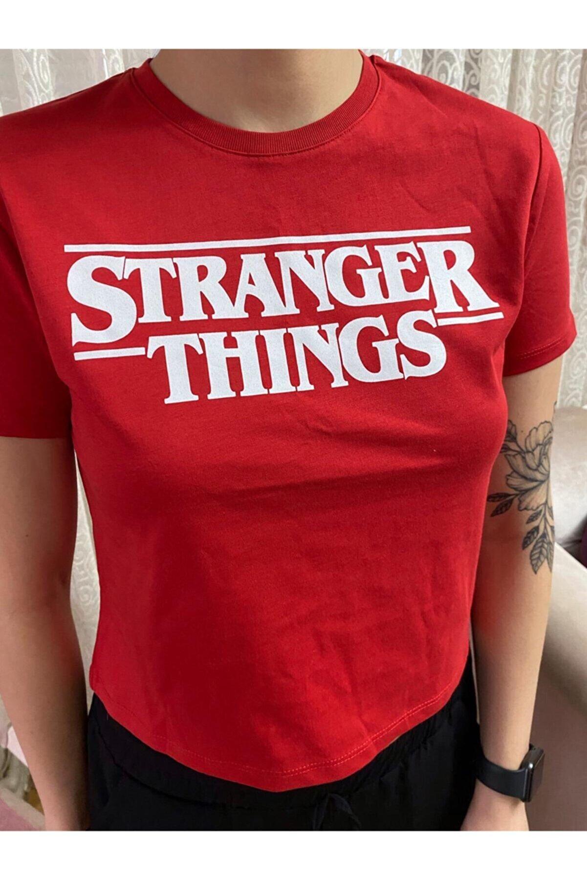 Flamix Kadın Kırmızı Stranger Things T-shirt