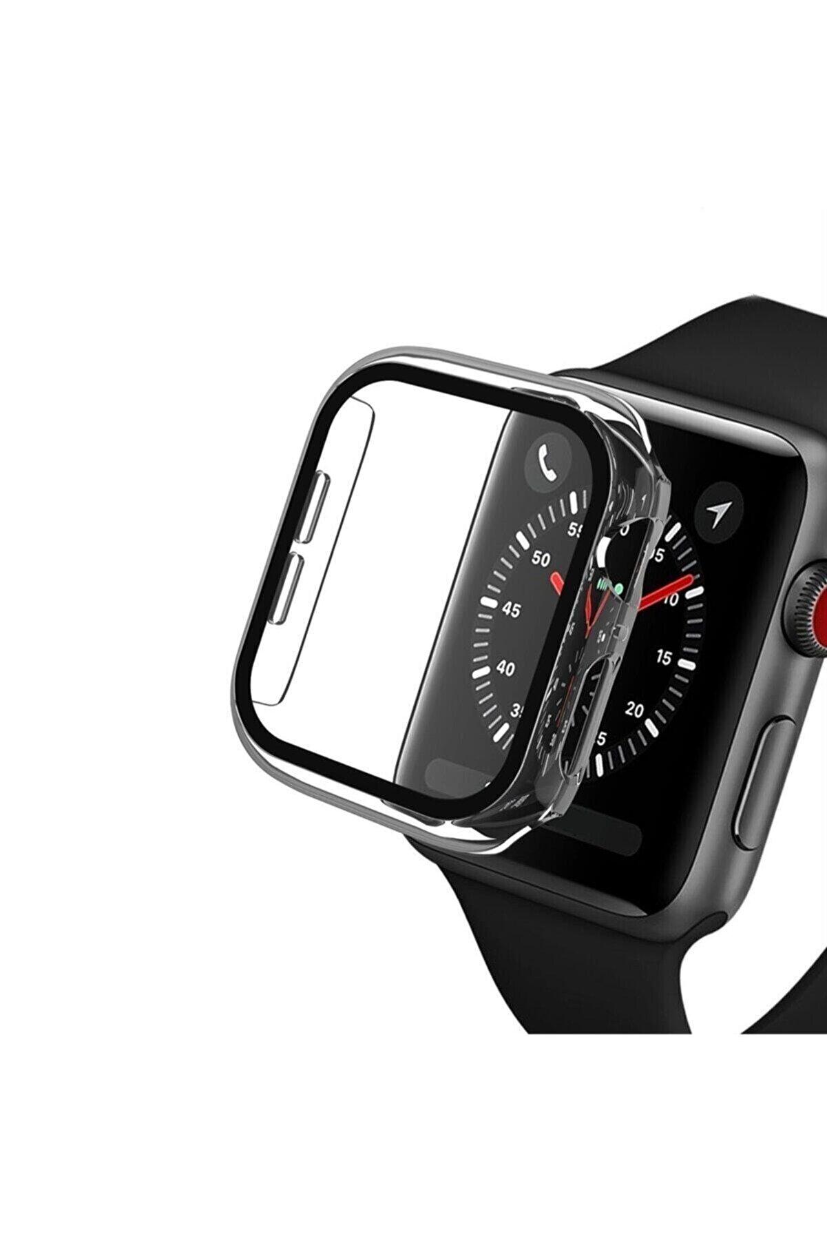 carecase Apple Watch Series Şeffaf Renk Sert Silikon Kılıf 44 Mm Tam Koruma