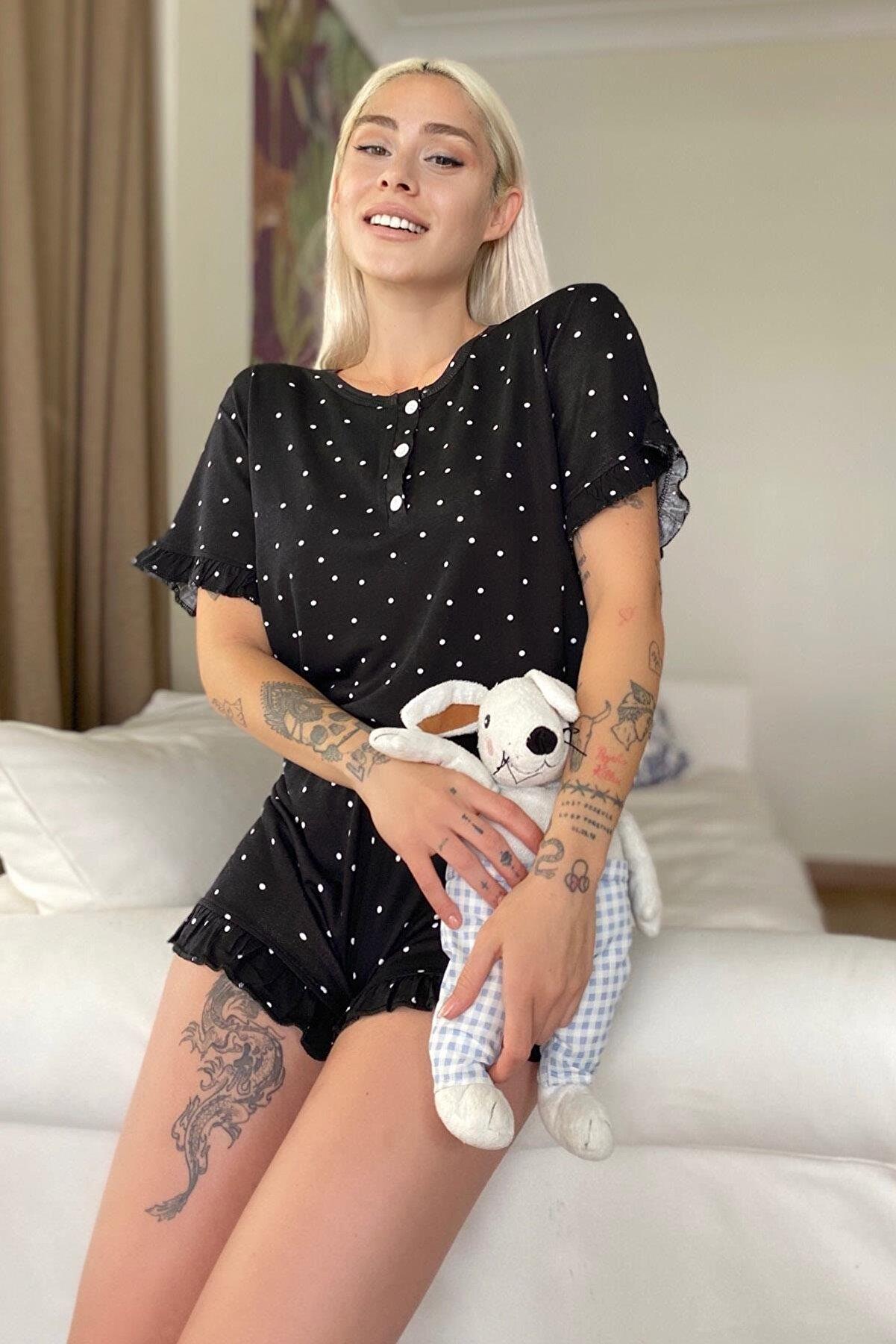 Pijamaevi Puan Desenli Örme Kısa Kol Şortlu Pijama Takımı