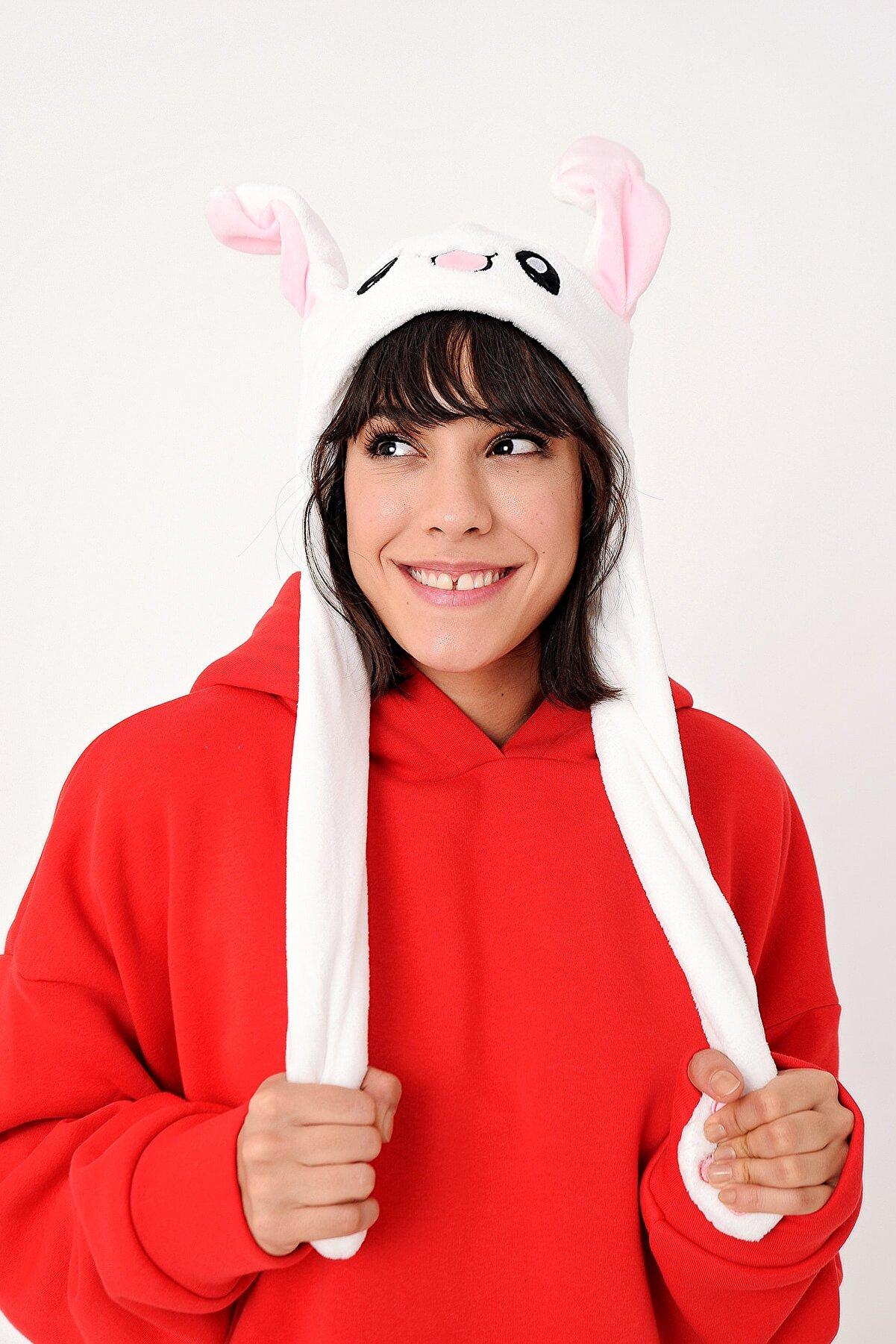 YOYOSO Kulakları Hareket Eden Tavşan Şapka Beyaz