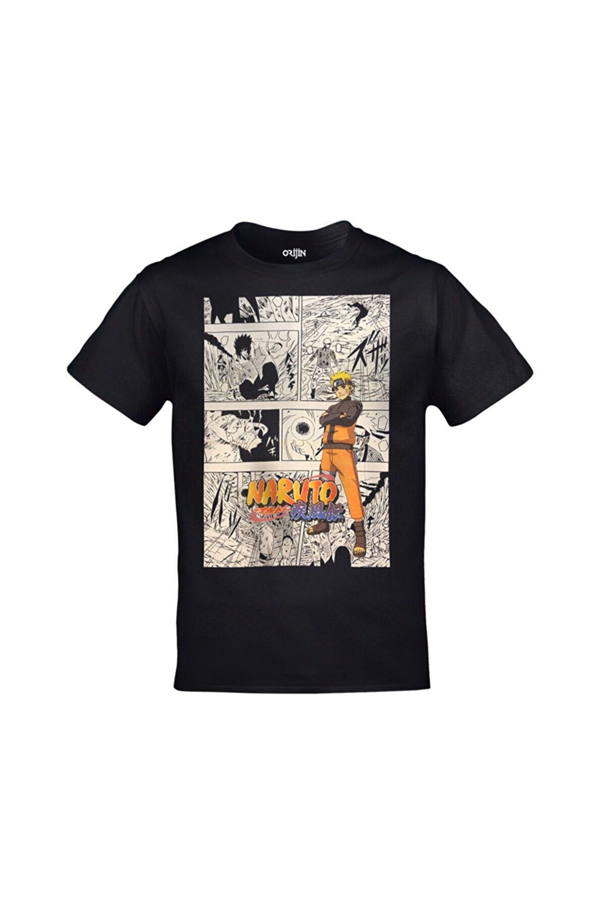 Orijin Tekstil Unisex Siyah Naruto Anime Baskılı Tshirt