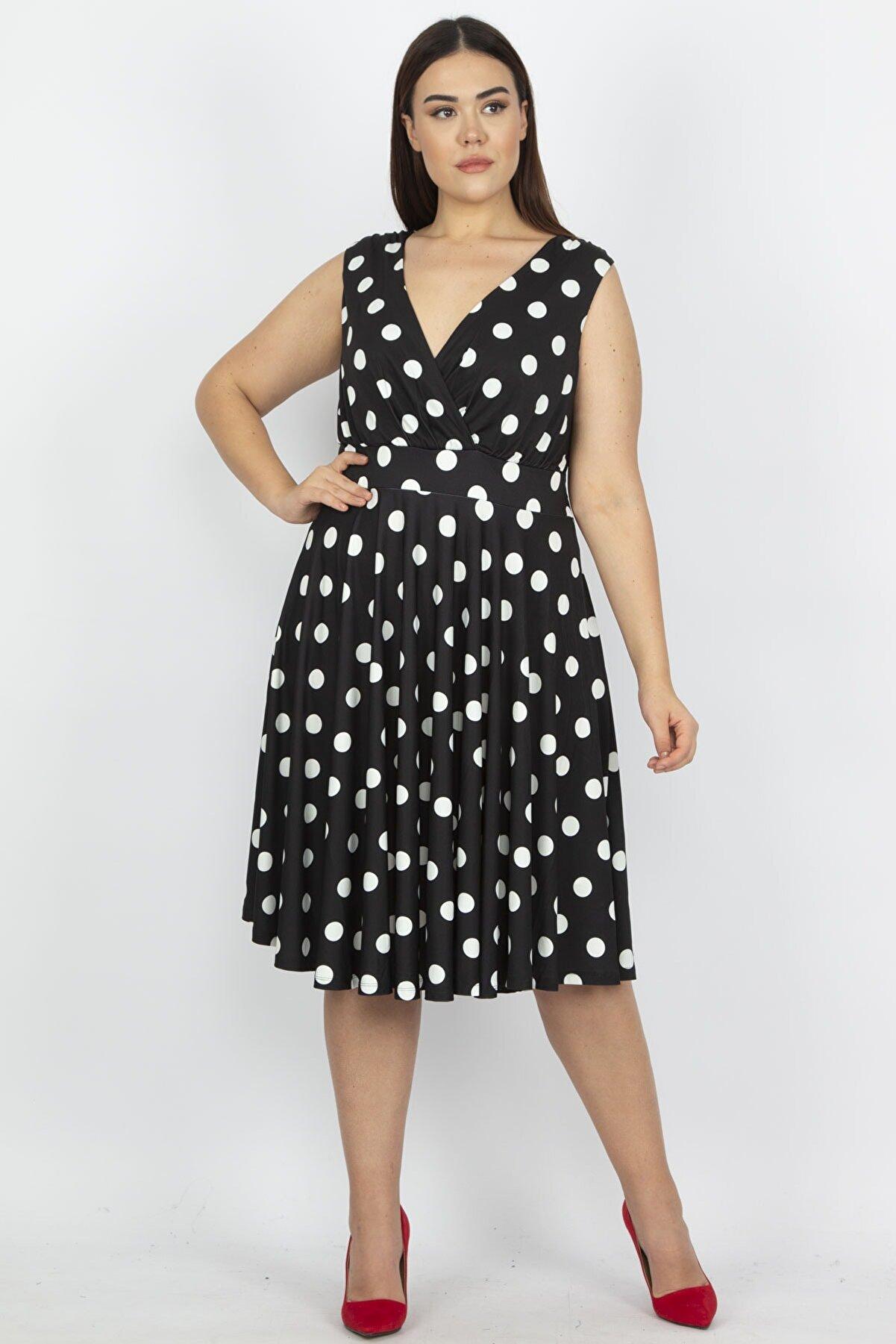 Şans Kadın Siyah Puan Desenli Anvelop Arka Bel Lastik Detaylı Elbise 65N19620