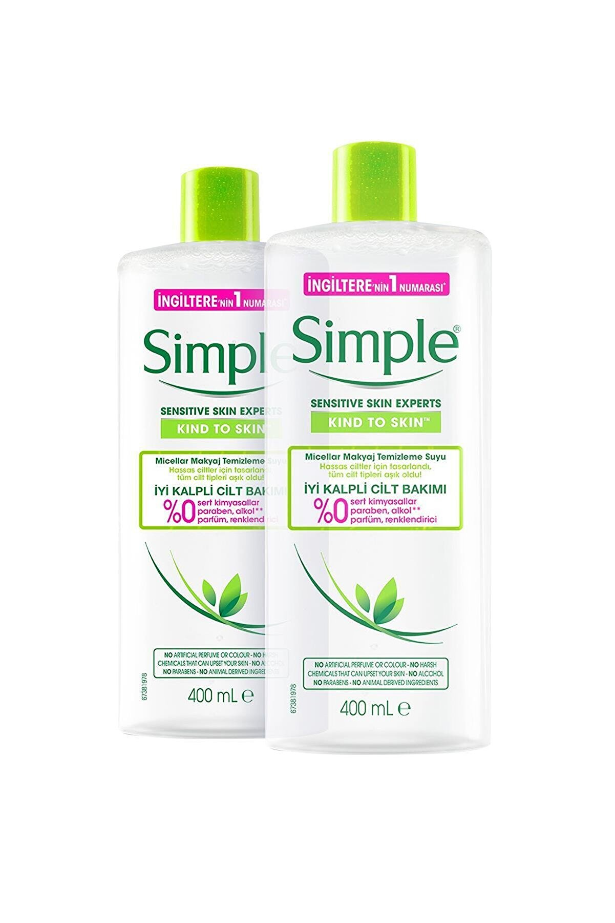 Simple Kind To Skin Hassas Ciltlere Uygun Micellar Makyaj Temizleme Suyu 400 Ml X2