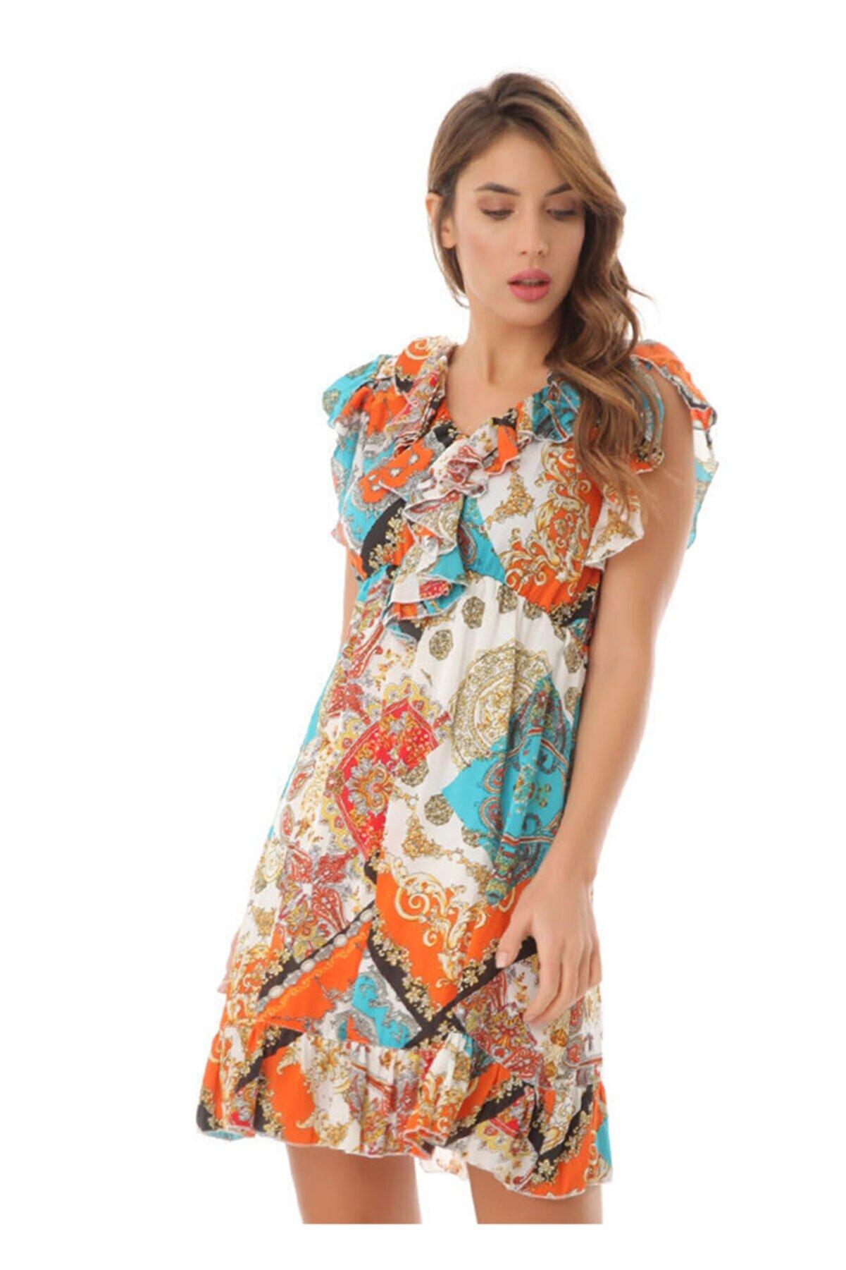 Serpil Kadın Turuncu Desenli Elbise 16515