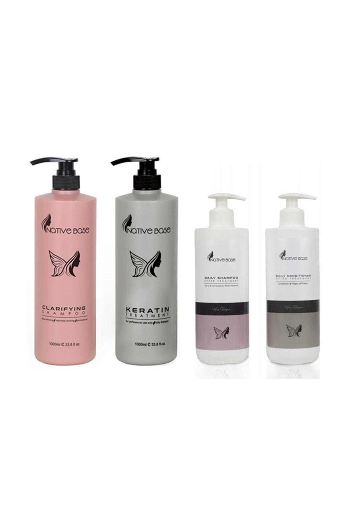 Native Base Keratin Bakım Ve Daily Günlük Şampuan Saç Kremi 4lü Set