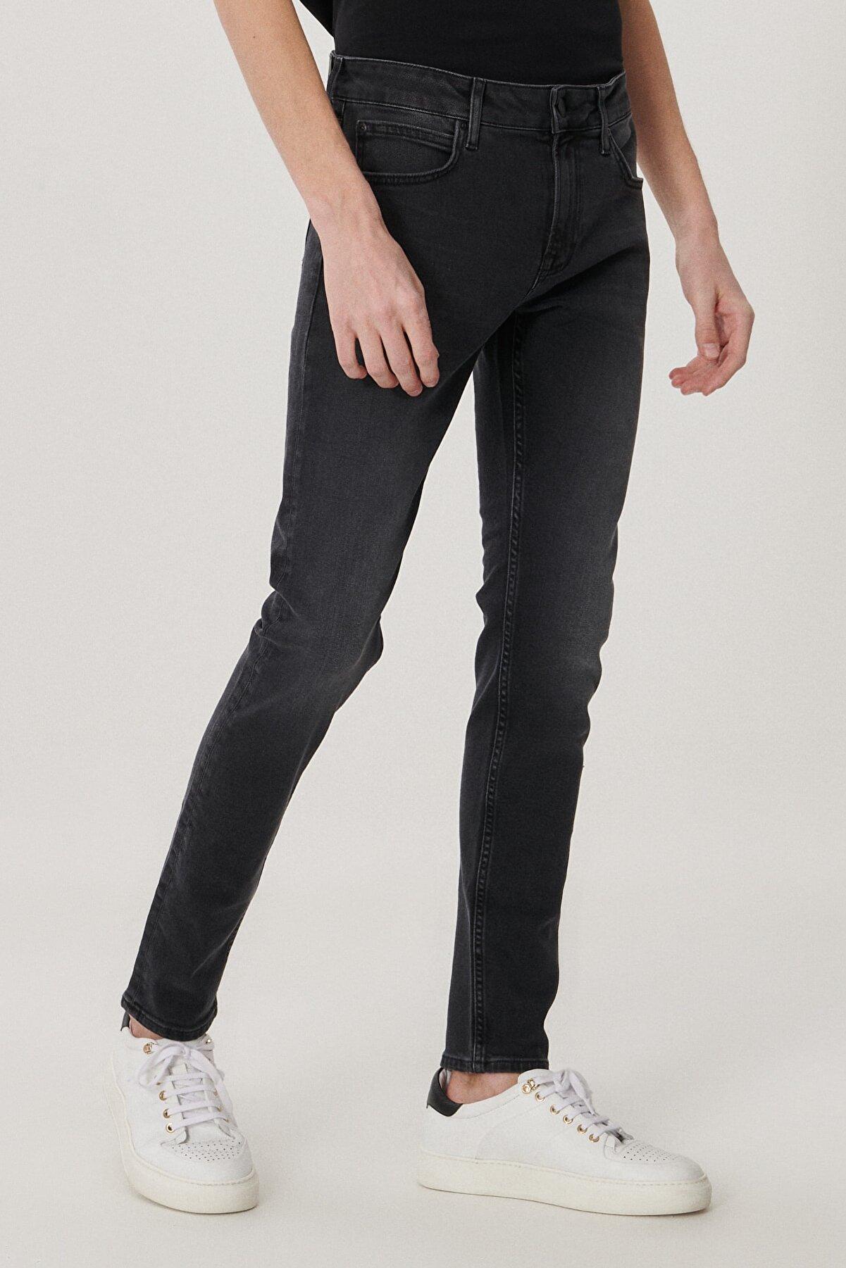 Lee Malone Erkek Koyu Gri Skinny Normal Bel Çok Dar Paça Esnek Jean Pantolon