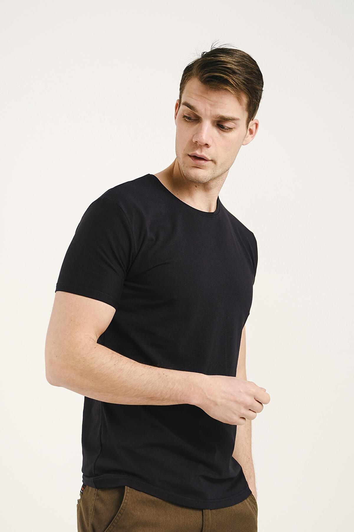 Oksit Ftx Slim Fit Bisiklet Yaka Erkek Basic Tshirt