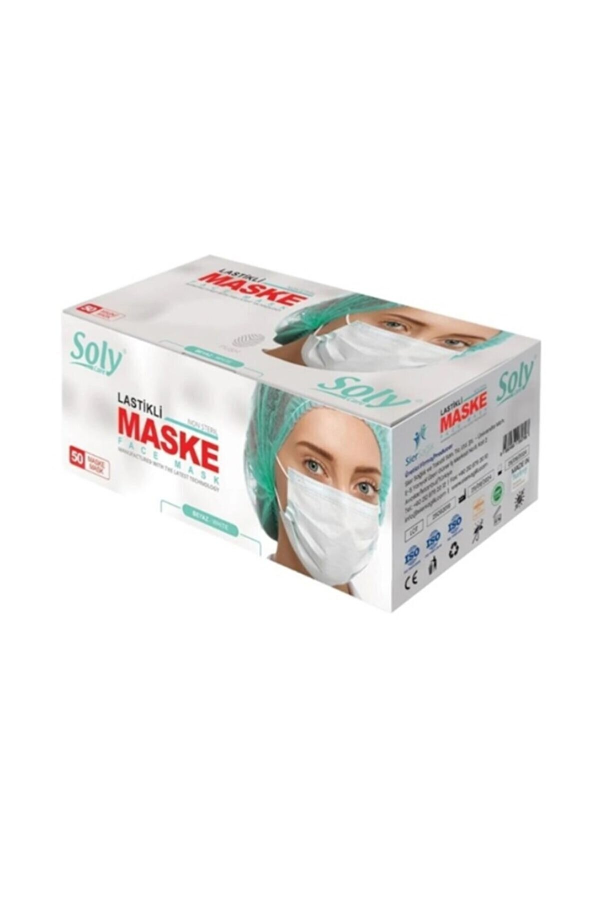 Soly Care Beyaz Meltblown 3 Katlı Full Ultrasonic Telli Maske 100 Adet