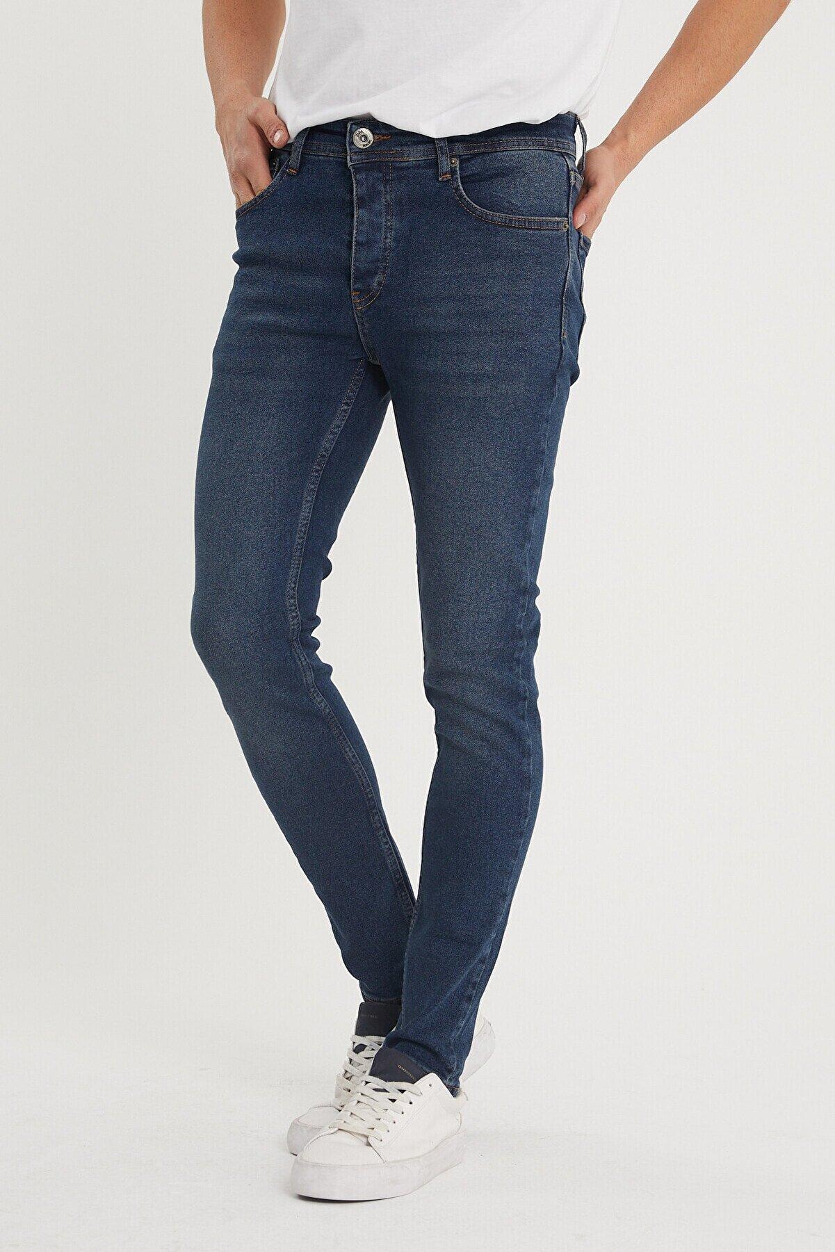 XHAN Erkek Lacivert Yıkamalı Slim Fit Jean Pantolon 1kxe5-44351-48