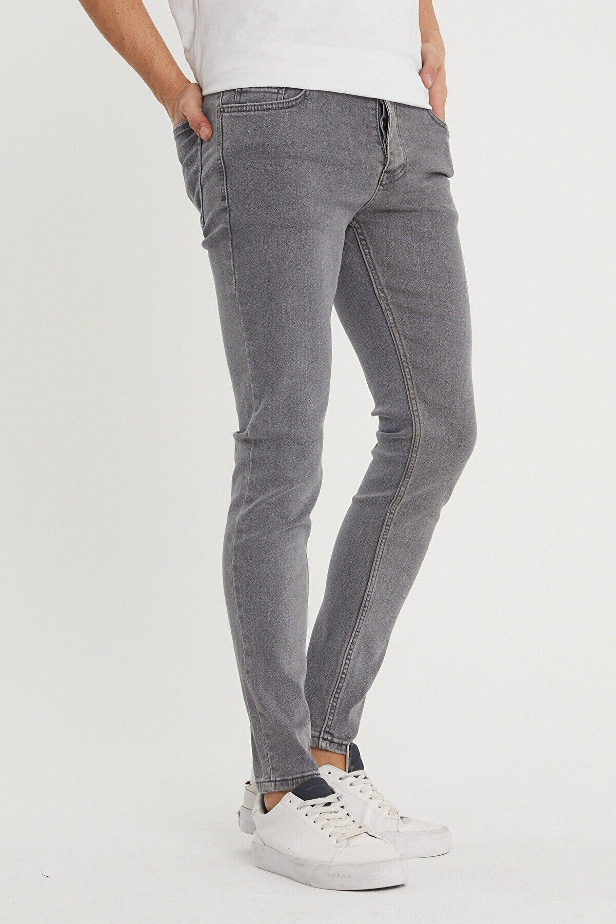 XHAN Erkek Gri Slim Fit Jeans