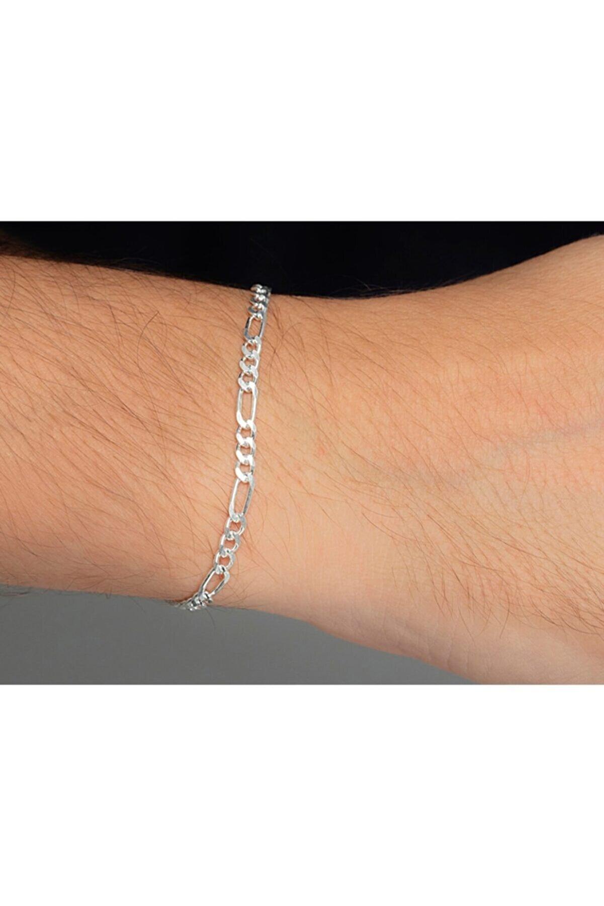 ENCİLİ SİLVER 925 Ayar Erkek Gümüş Zincir Figaro Bileklik