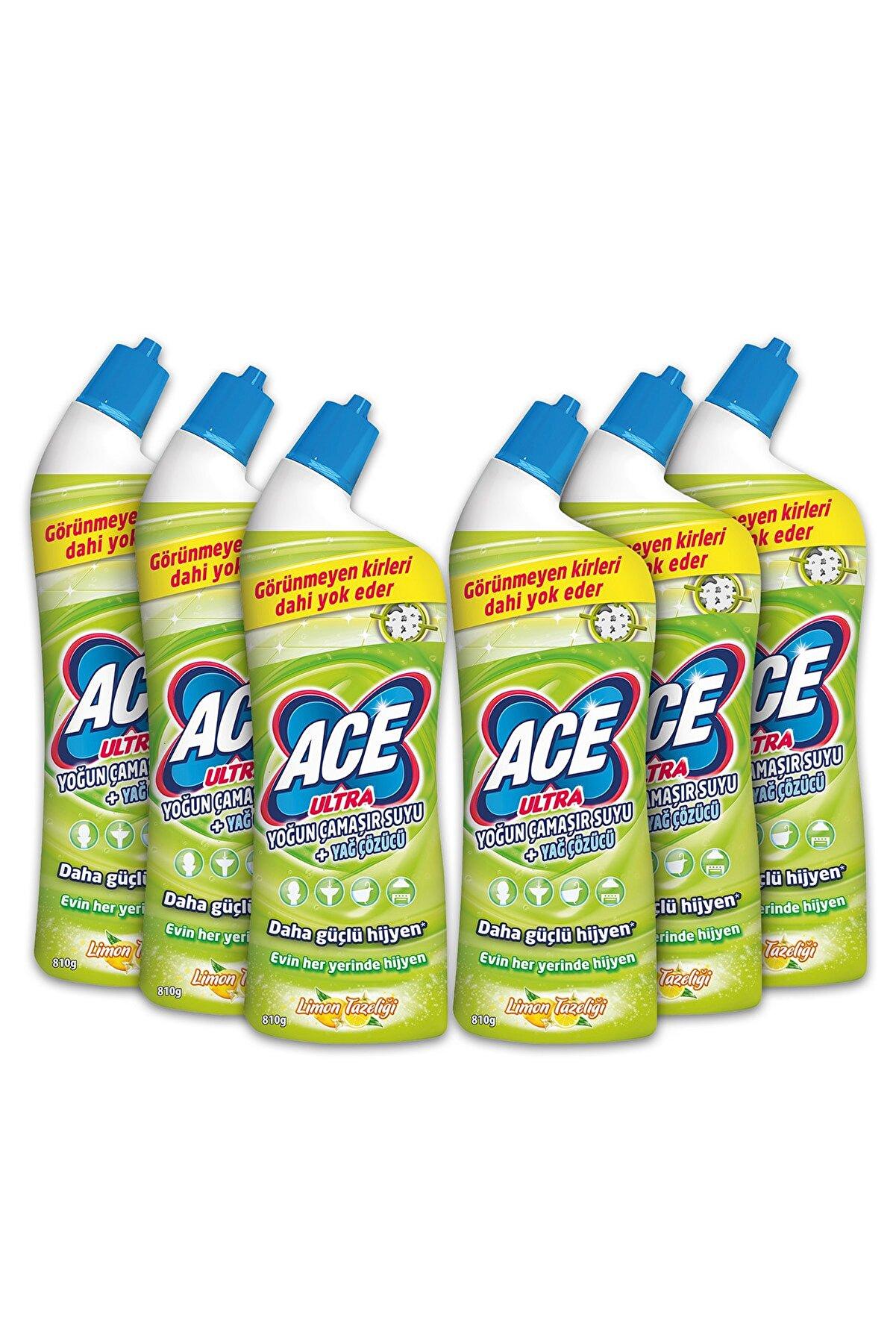ACE Ultra Power Jel Kıvamlı Çamaşır Suyu Limon Tazeliği 810 Gram X 6 Adet
