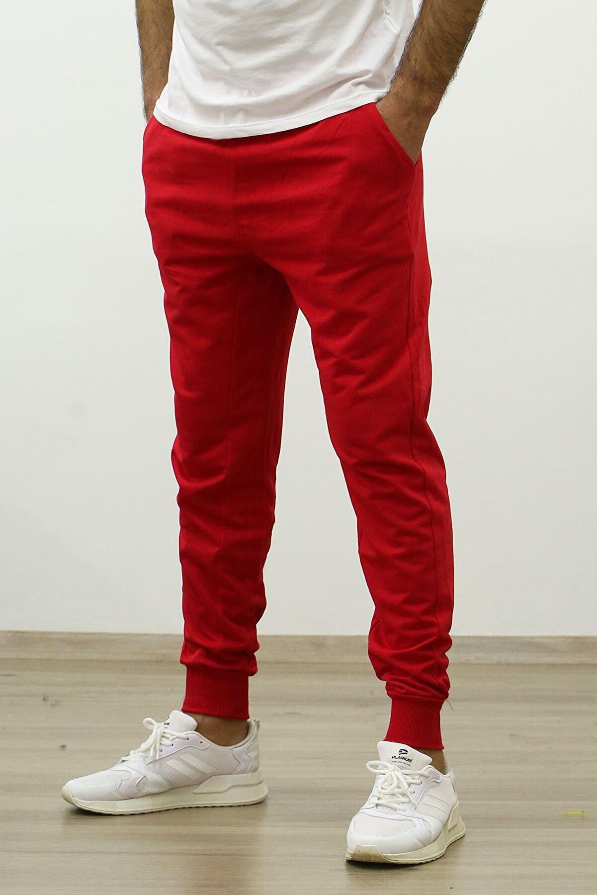 STUDIO PLUS Erkek Kırmızı Cep Detay Eşofman Altı