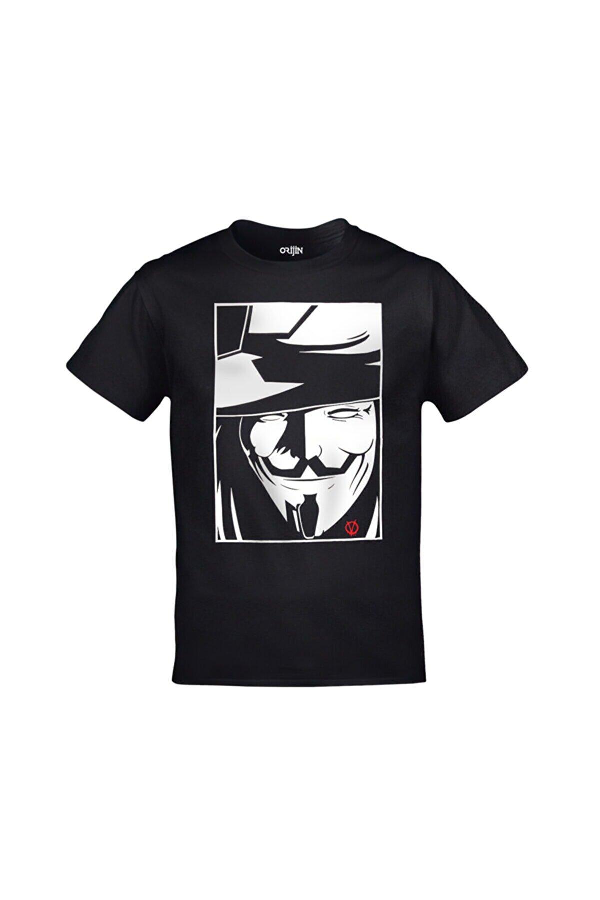 Orijin Tekstil Unisex Siyah V For Vendetta T-shirt