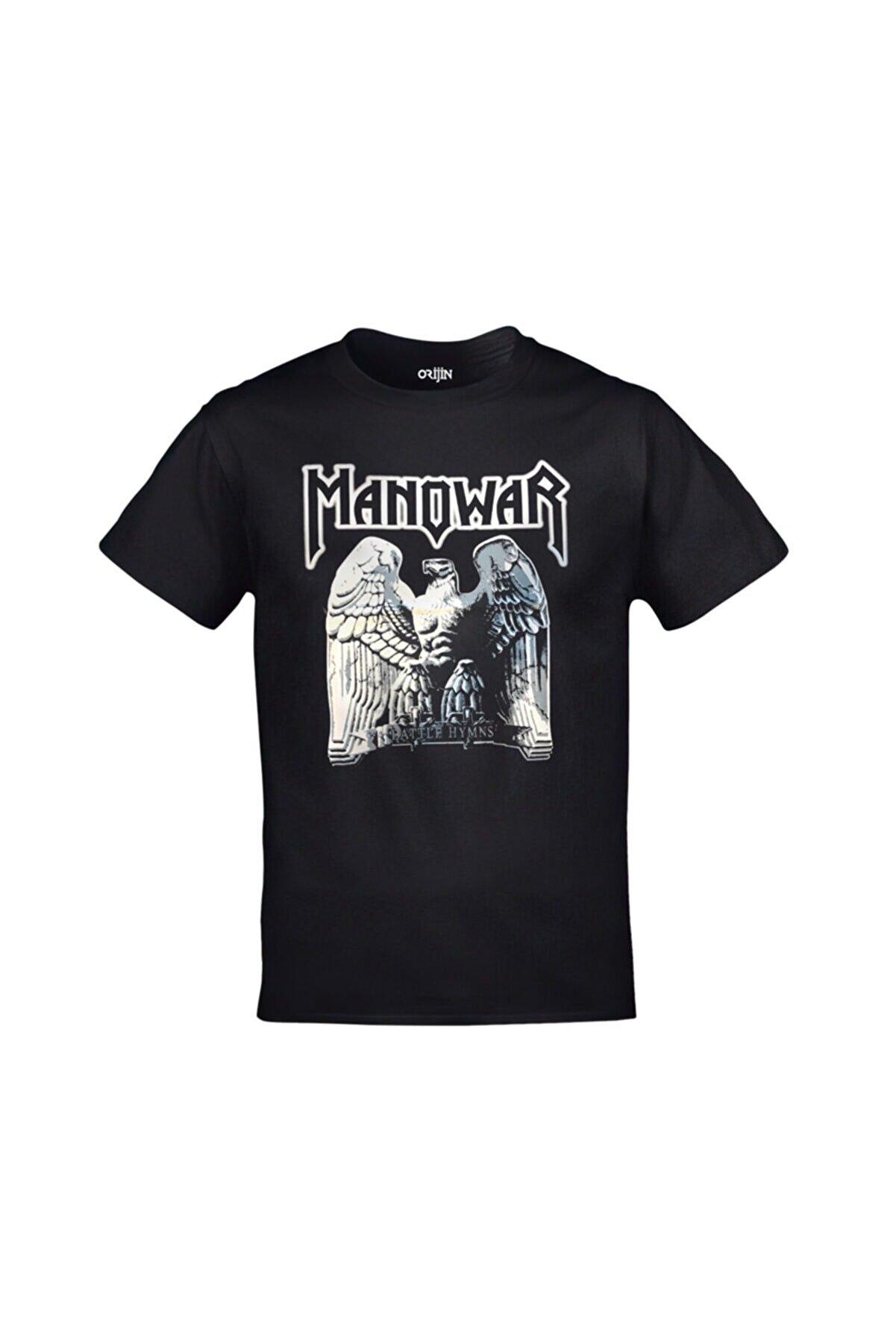 Orijin Tekstil Unisex Siyah Manowar Battle Hymns Baskılı Tshirt