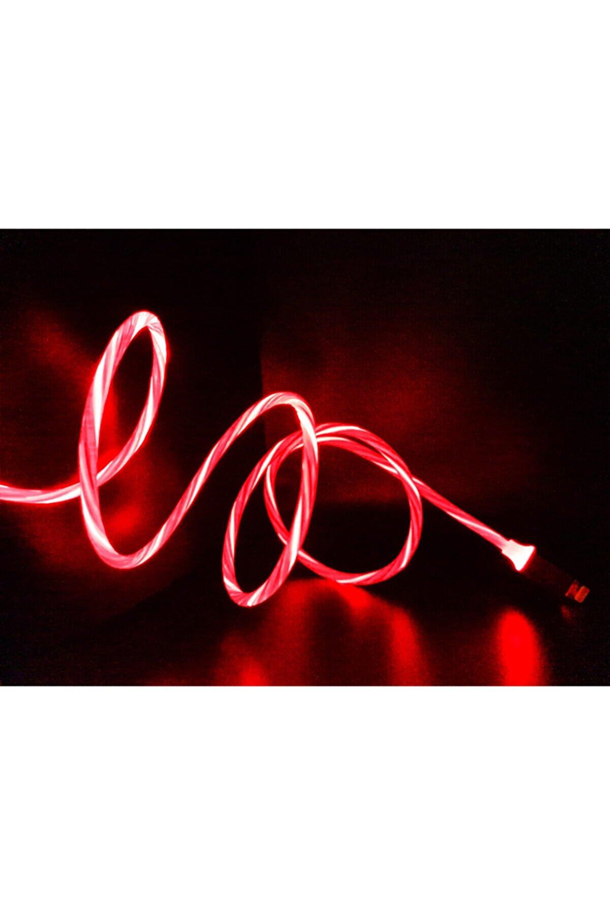 MADEPAZAR Kırmızı Renk Neon Işıklı Ledli Yeni Nesil Iphone Kablo
