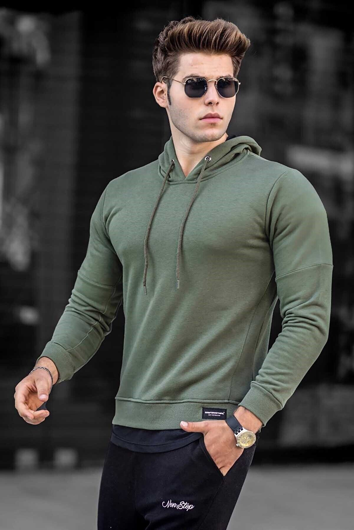Madmext Erkek Basic Haki Erkek Kapüşonlu Sweatshirt 4696