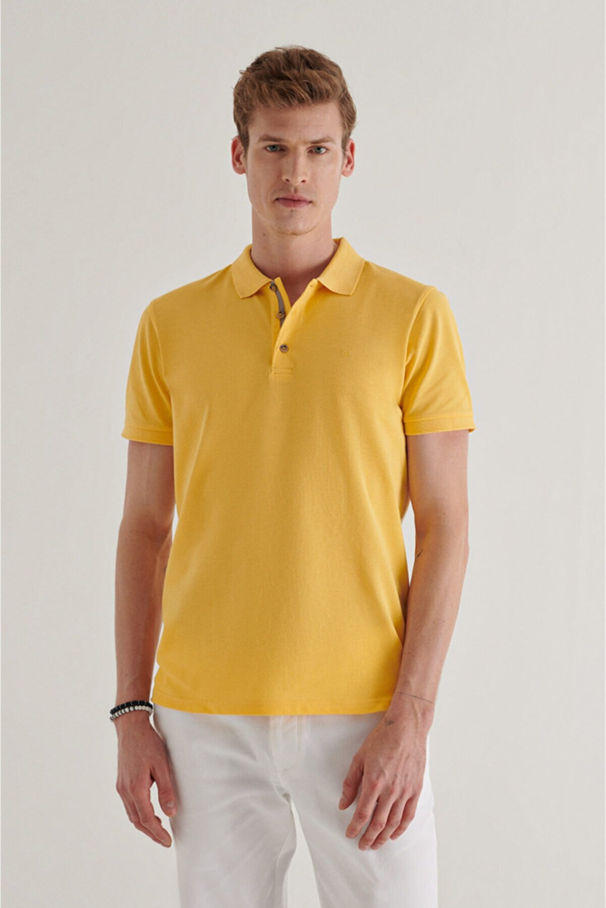 Avva Erkek Sarı Polo Yaka Düz T-shirt A11b1174