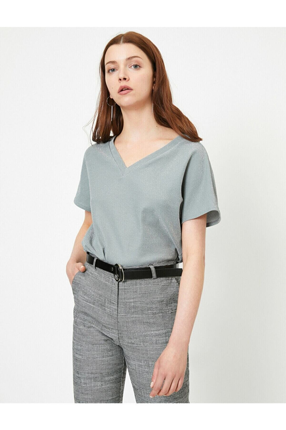 Koton Kadın Gri V Yaka T-shirt