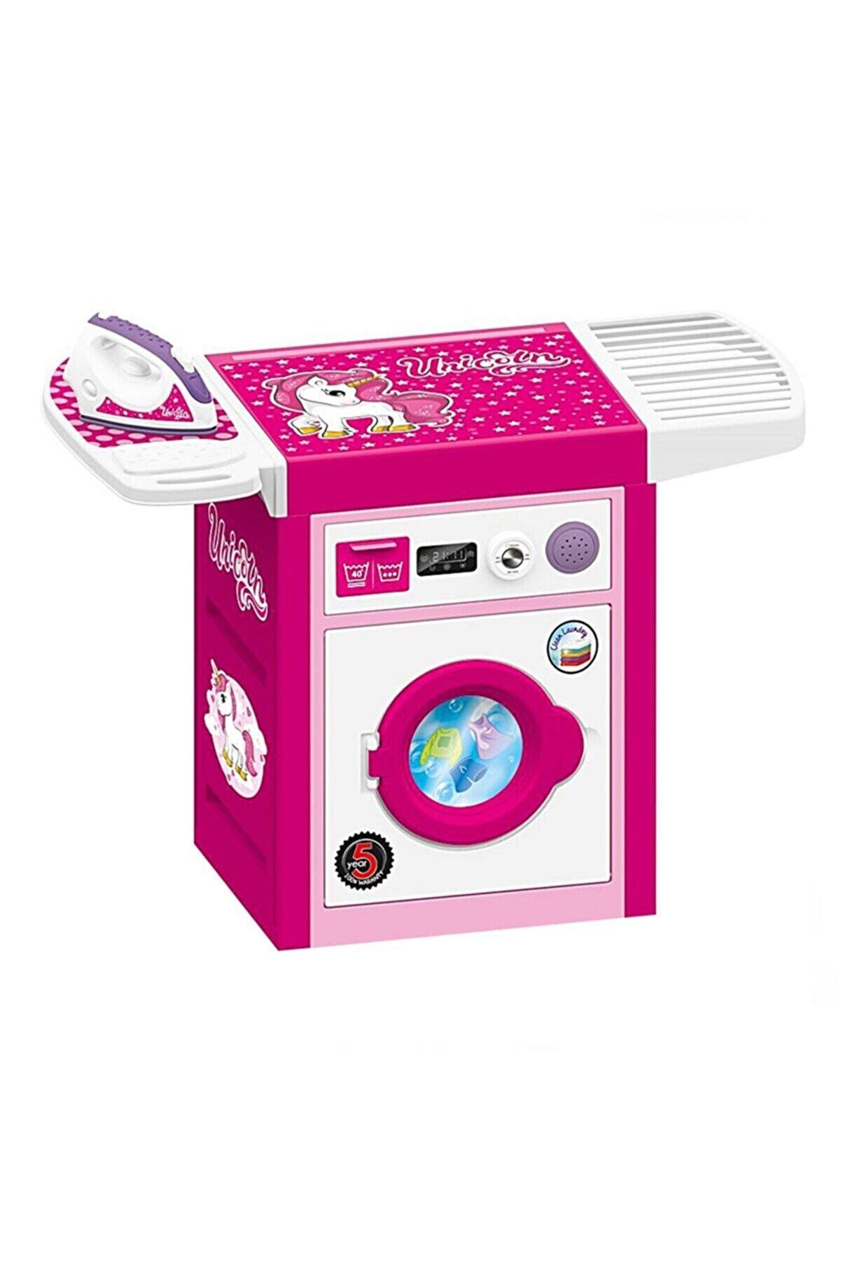 Dolu Unicorn Sesli Pembe Çamaşır Makinesi Ve Ütü Seti