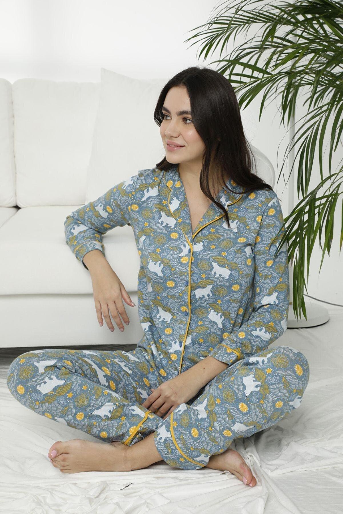 Siyah İnci Kadın Yeşil Pamuklu Likralı Düğmeli Biyeli Pijama Takım