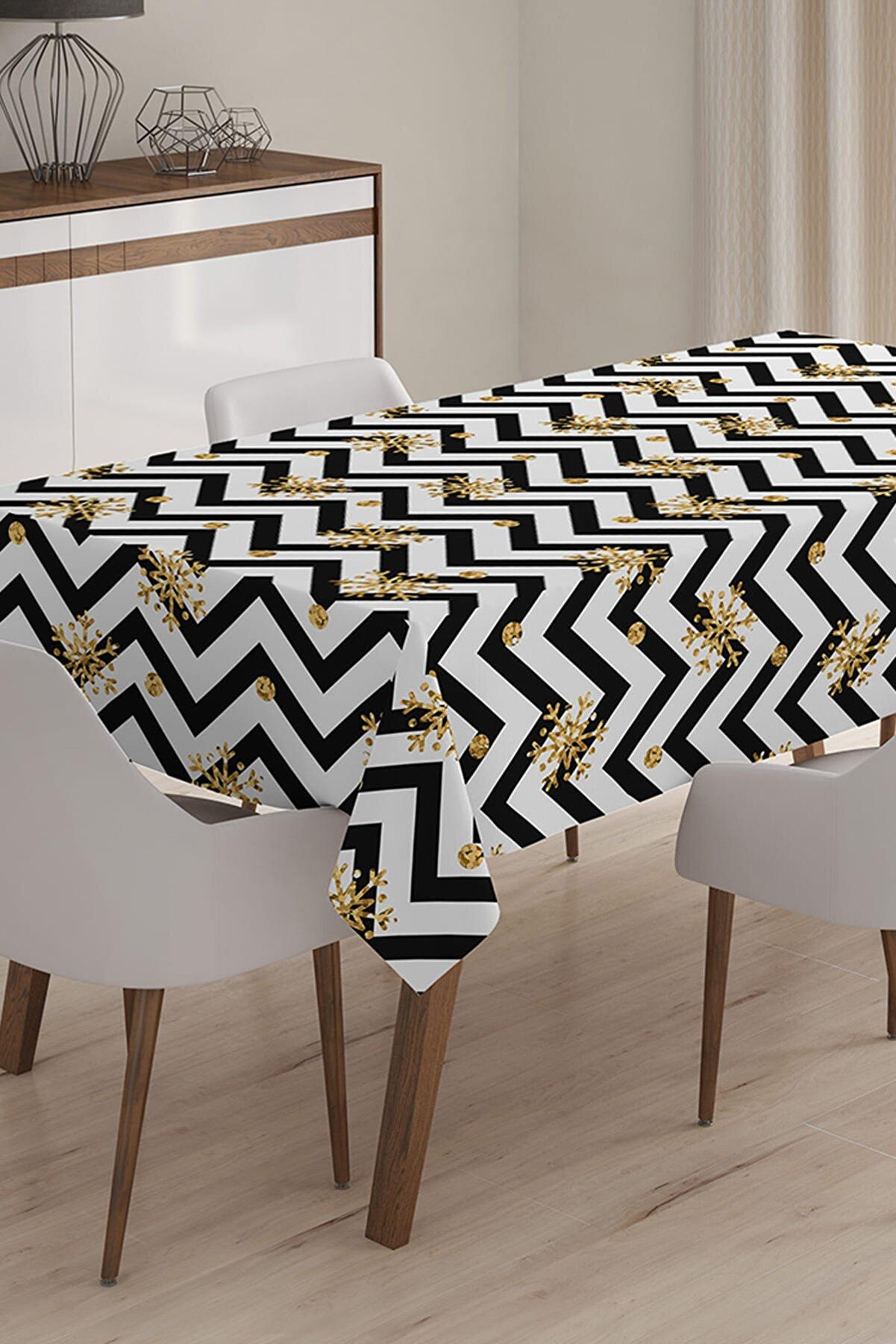 Realhomes Siyah Zigzag Desenli Dijital Baskılı 3D Masa Örtüsü - 140 x 180 cm