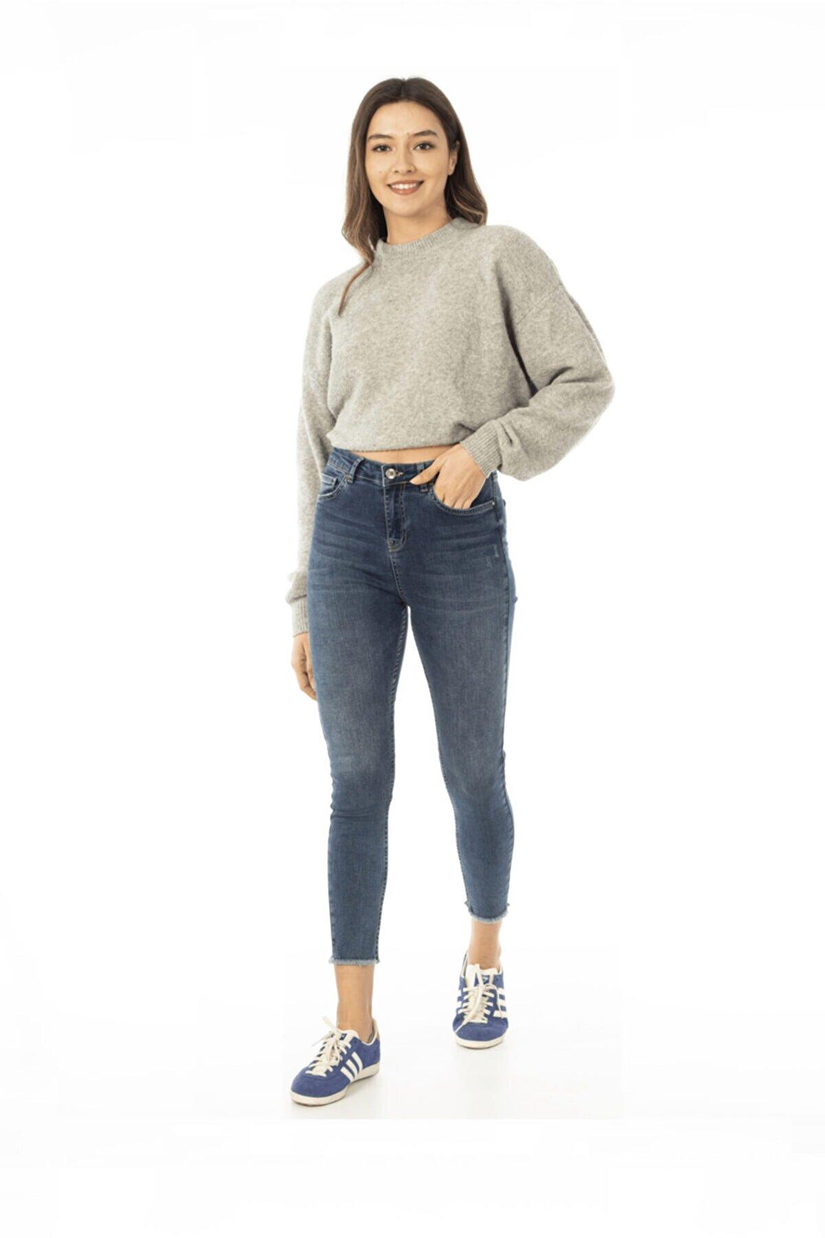 CEDY DENIM Kadın Mavi Yüksek Bel Skinny Jeans Kot Pantolon