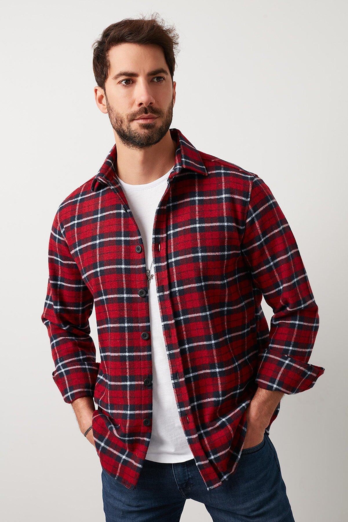 Buratti Erkek Kırmızı Ekoseli Uzun Kollu Oduncu Gömlek 5910080