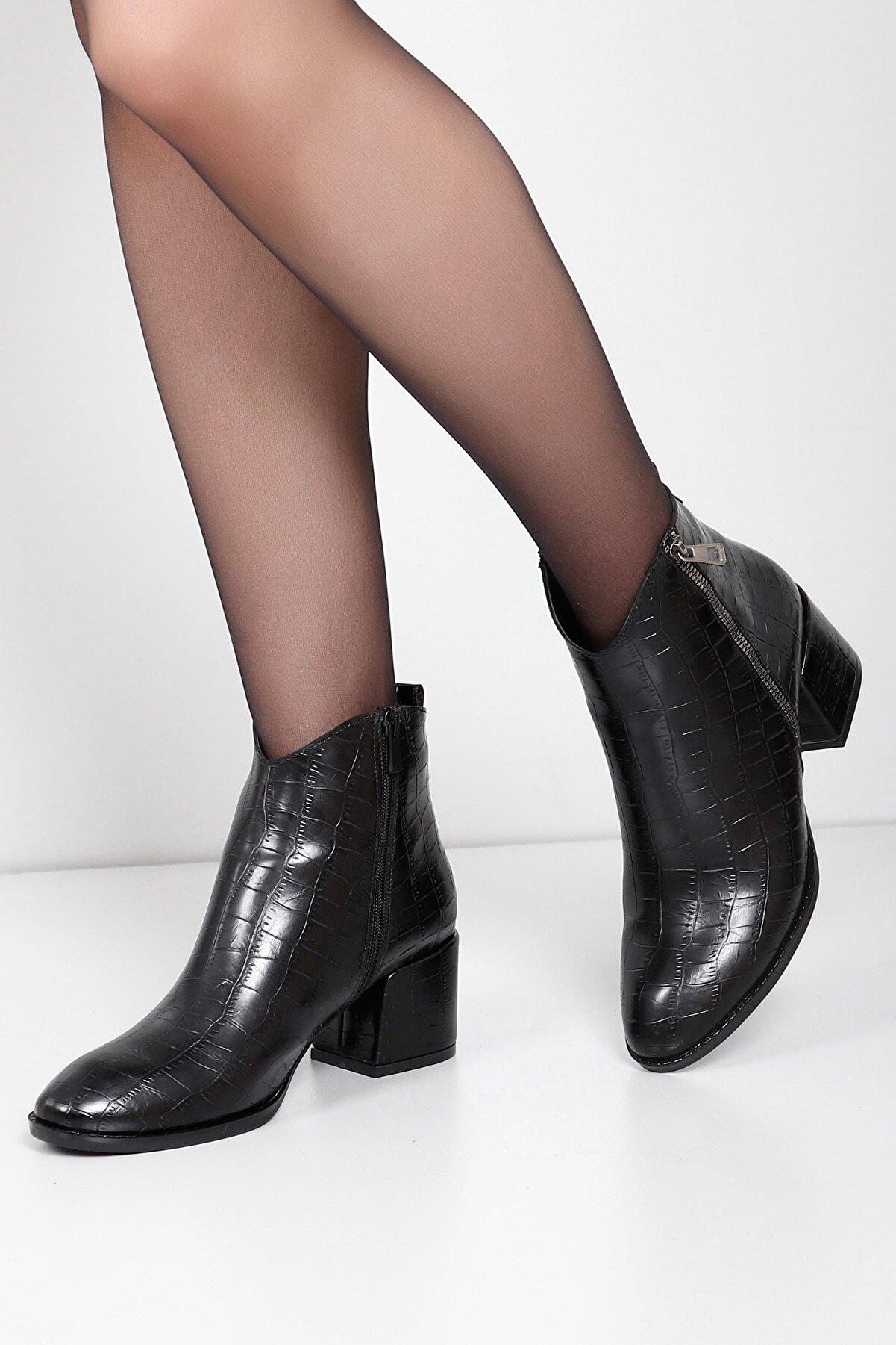GÖNDERİ(R) Gön Siyah Krako Fermuarlı Sivri Burun Kısa Topuk Günlük Kadın Bot 38001