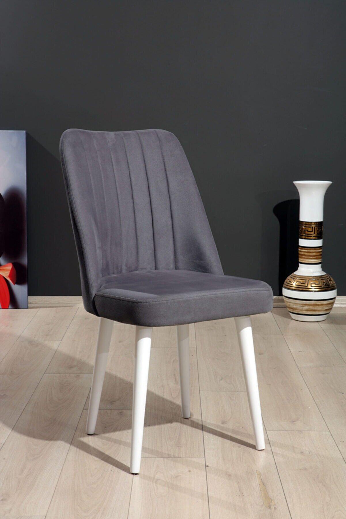 Mymassa Polo Sandalye Gri Düz Renk Kumaş - Ahşap Beyaz Ayaklı