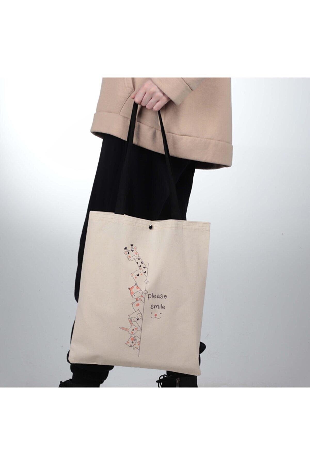 pamukcanta Please Smile Tasarım Çıtçıtlı Kalın Kumaş Bez Çanta