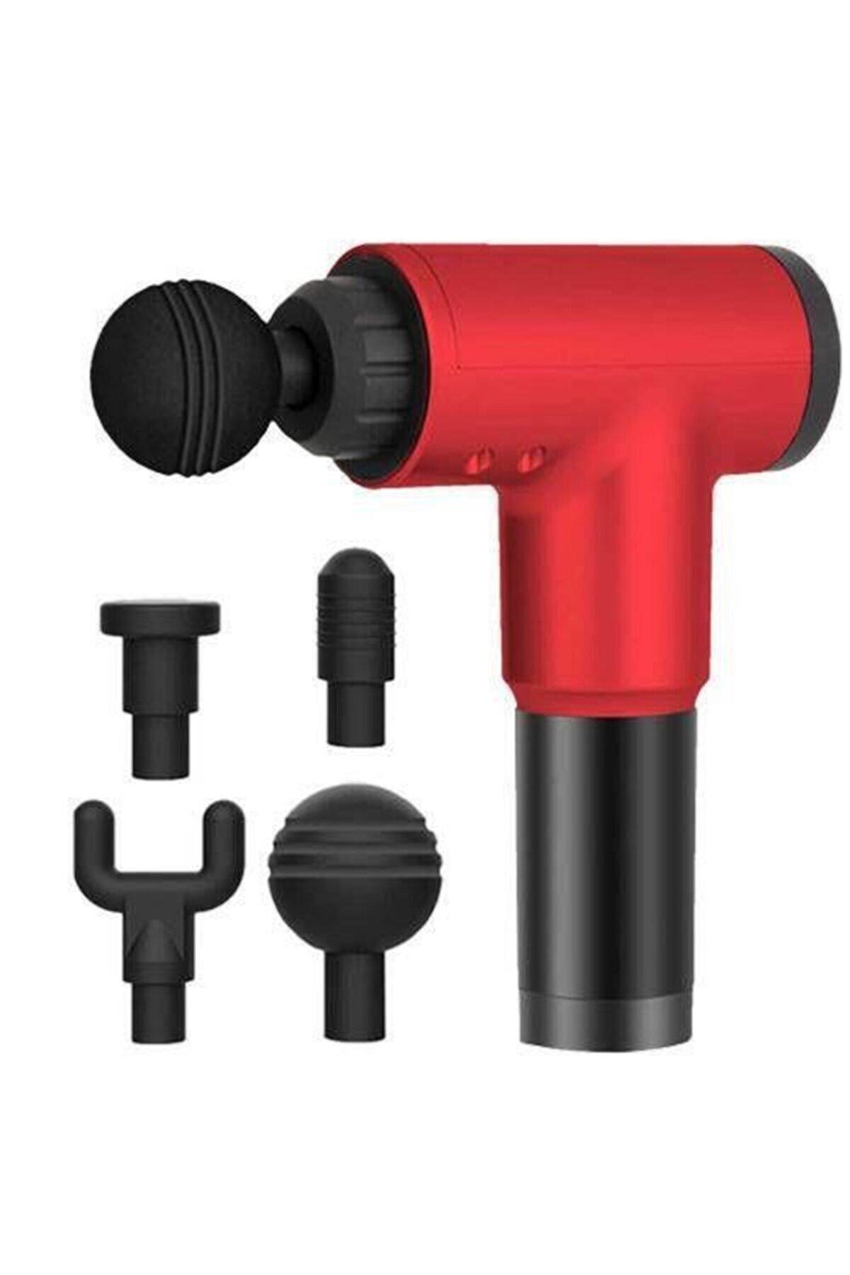 Realx 4 Başlıklı Titreşimli Yoğurmalı 6 Fonksiyonlu Masaj Aleti Kırmızı