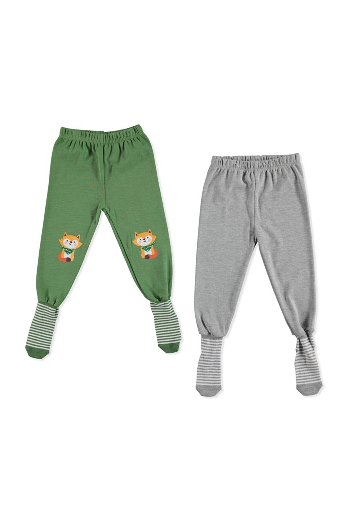 HelloBaby Erkek Bebek Yeşil 2li Çoraplı Pijama Pantolon