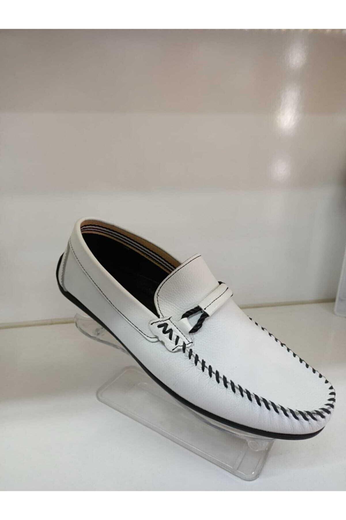 TKN Erkek Beyaz Günlük Beyaz Loafer Ayakkabı