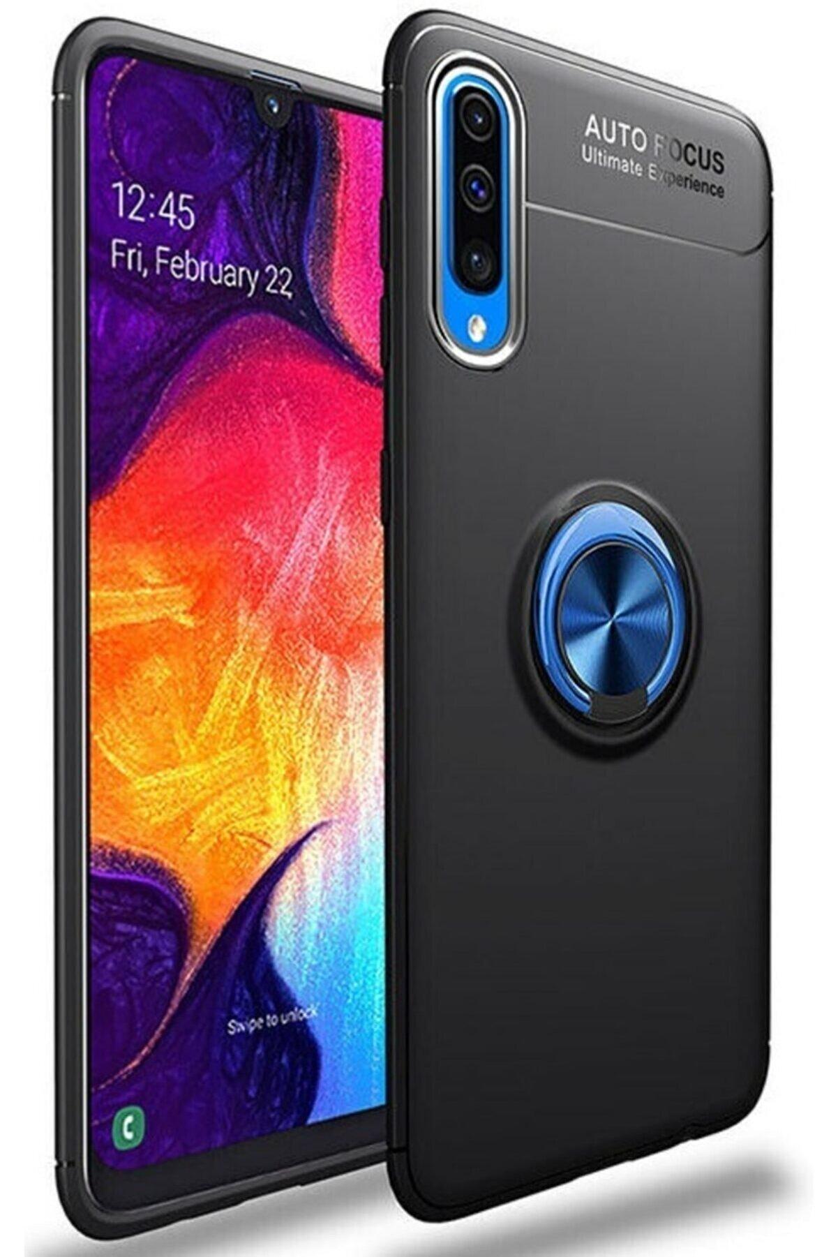Samsung Galaxy A70 Kılıf Yüzüklü Standlı Tam Koruma Silikon