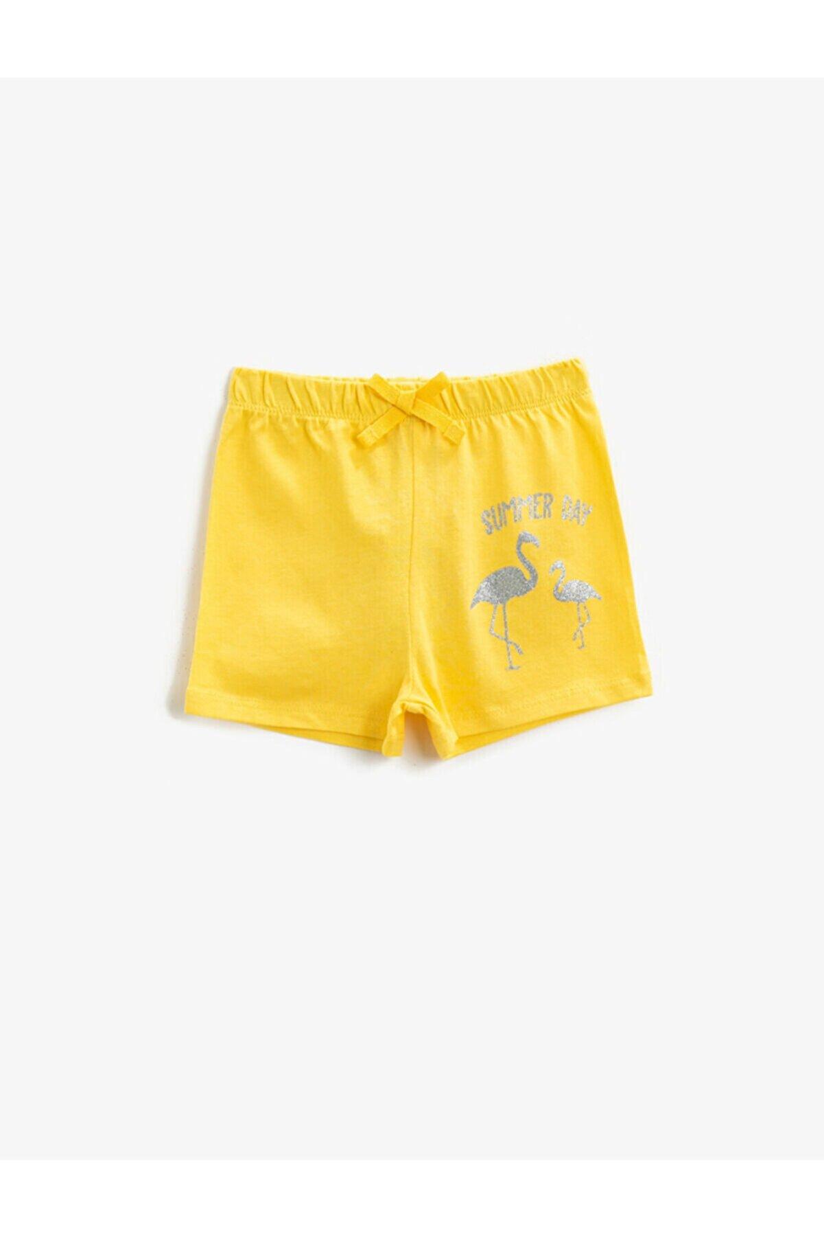 Koton Kız Çocuk Sarı Pamuklu Şort