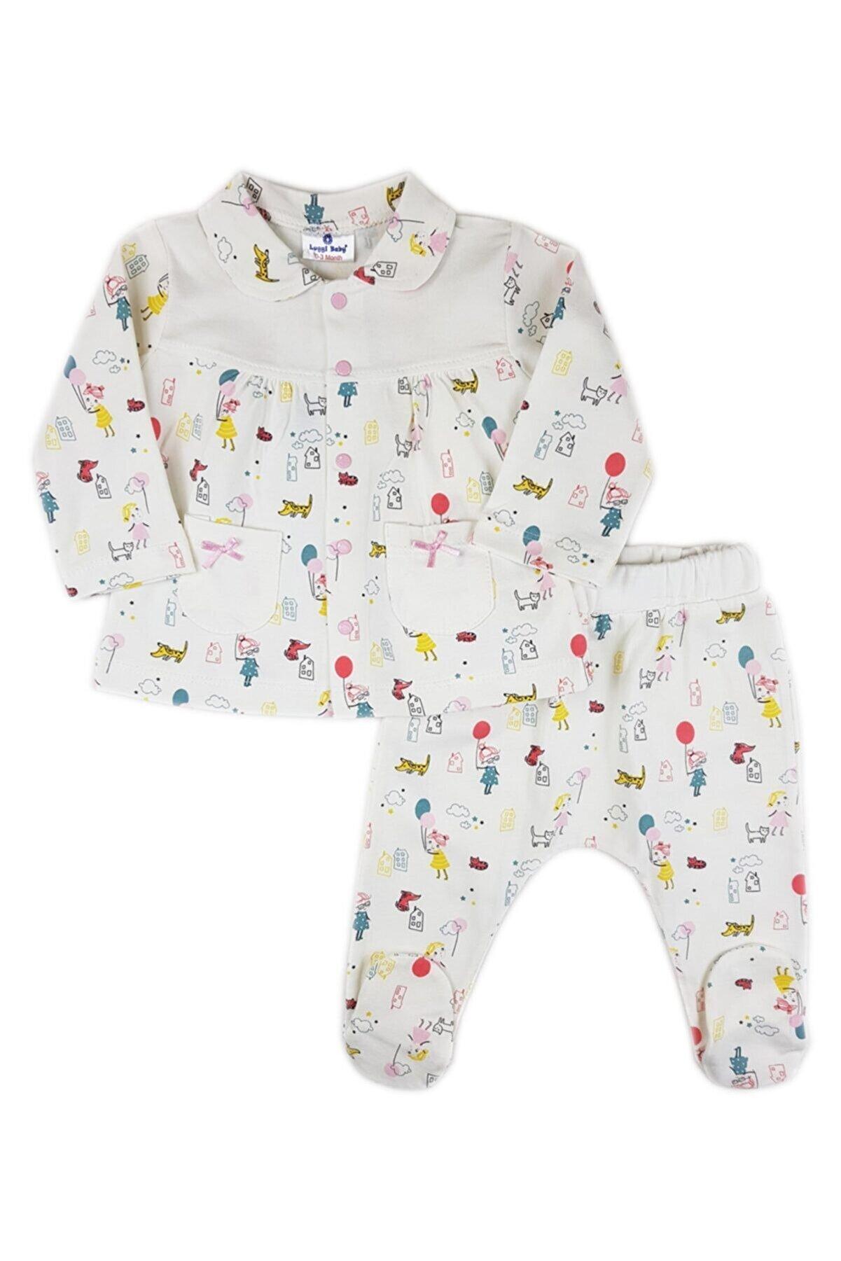 Luggi Baby Kız Bebek Beyaz Uzun Kollu Pijama Takımı Lg-6027