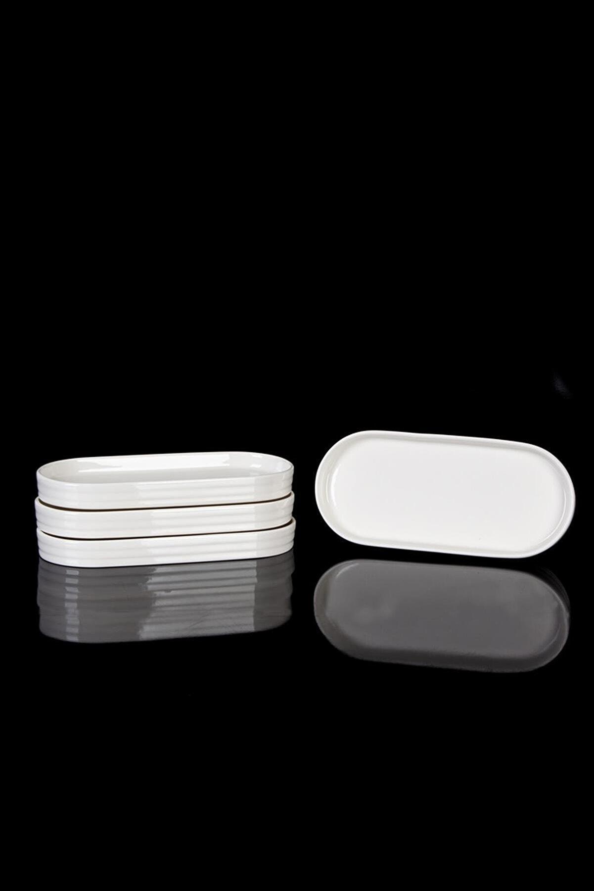 ACAR Bianca Perla 6lı Porselen Oval Servis Tabak - 20.5 Cm