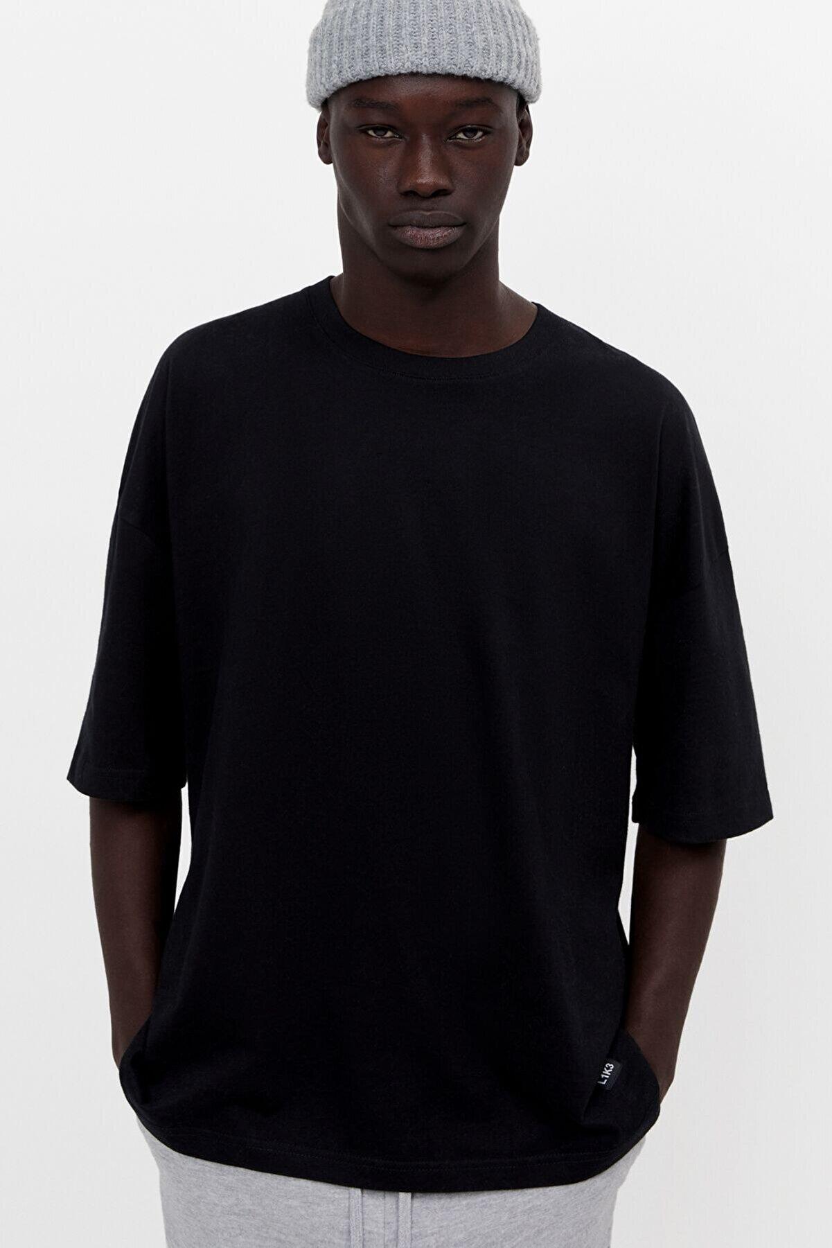 Bershka Erkek Siyah Ekstra Loose Fit T-Shirt 02370880